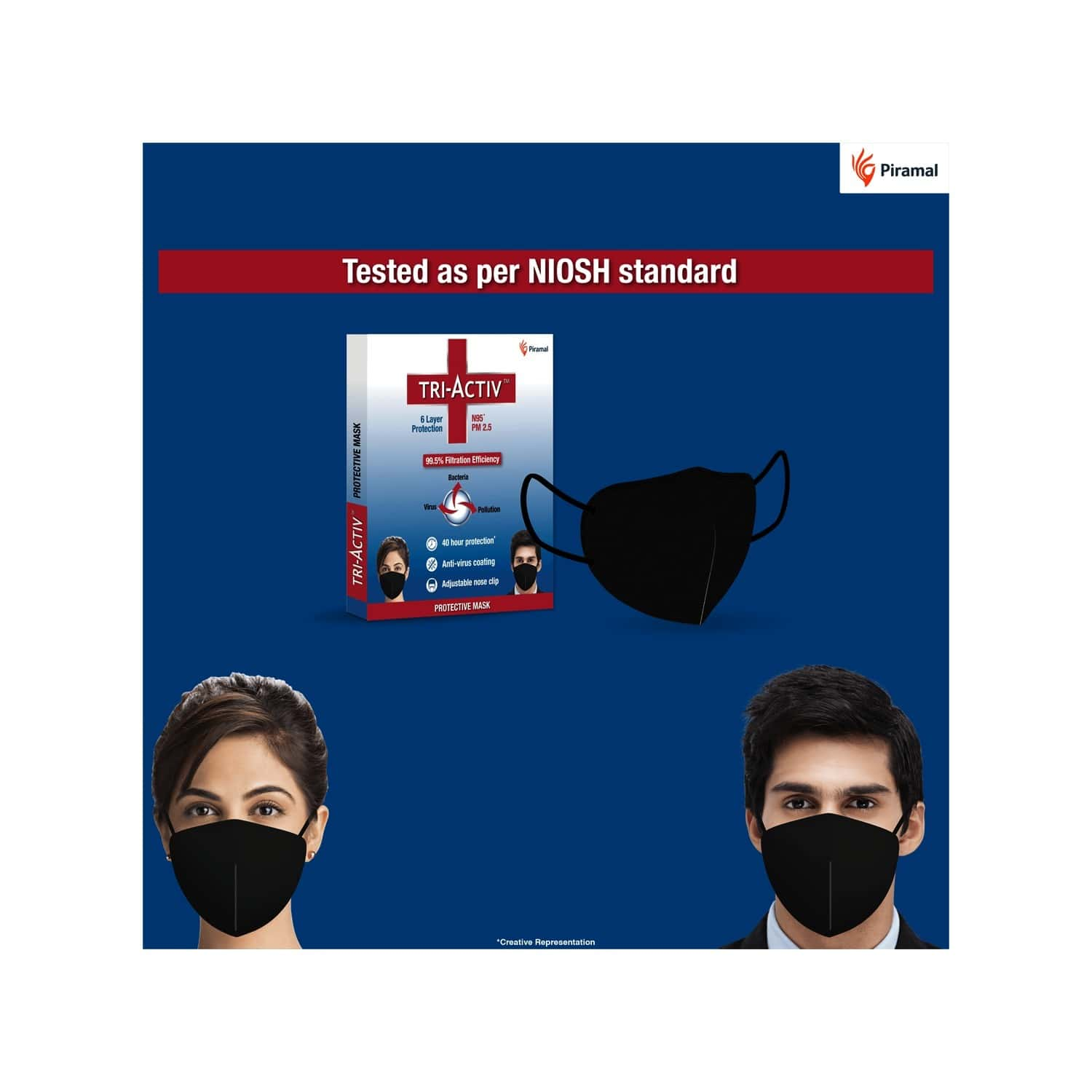 Tri-activ N95 Masks With 6 Layer Protection Anti-virus Coating 99.5% Filtration Efficiency