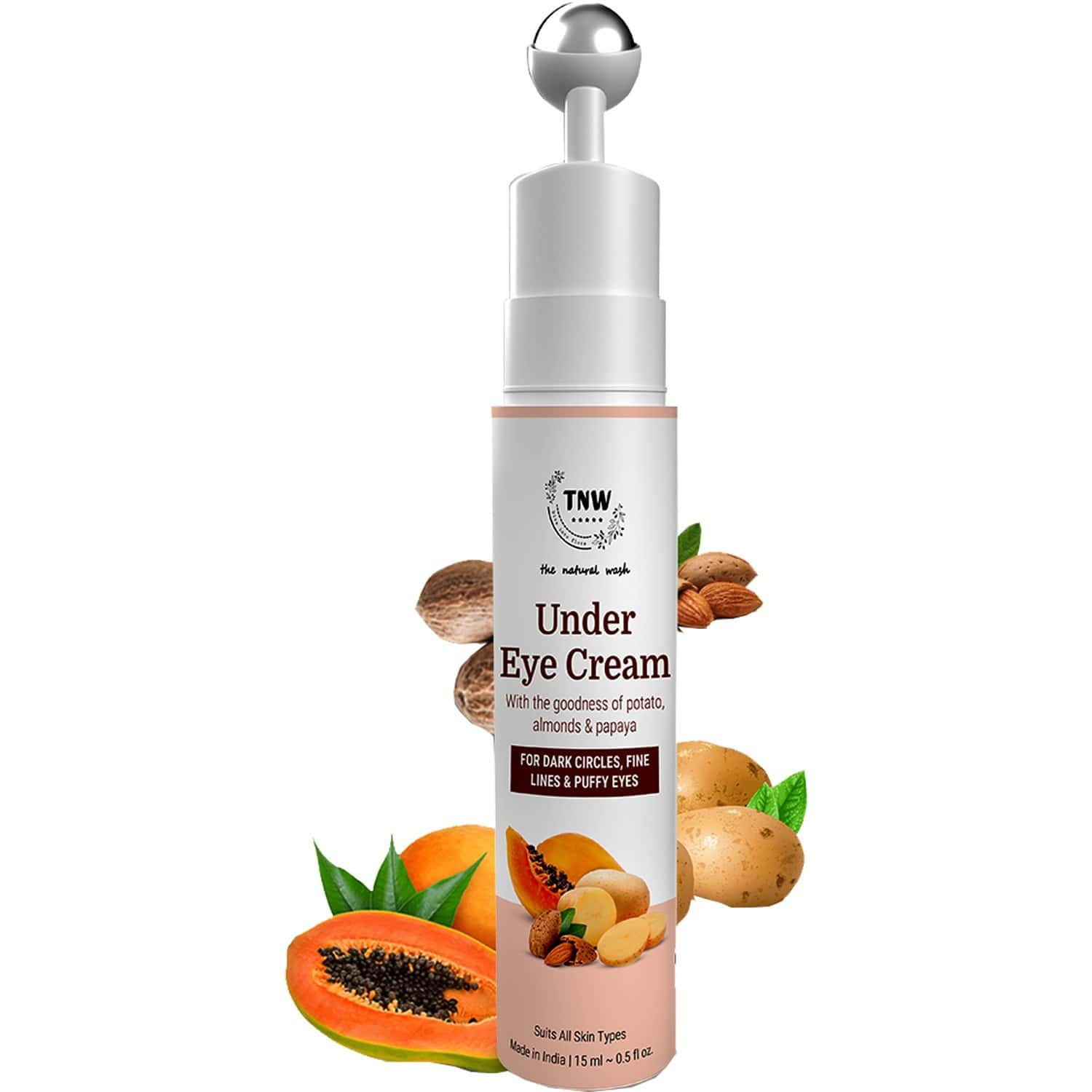 The Natural Wash Under Eye Cream With Cooling Massage Roller - 15 Ml
