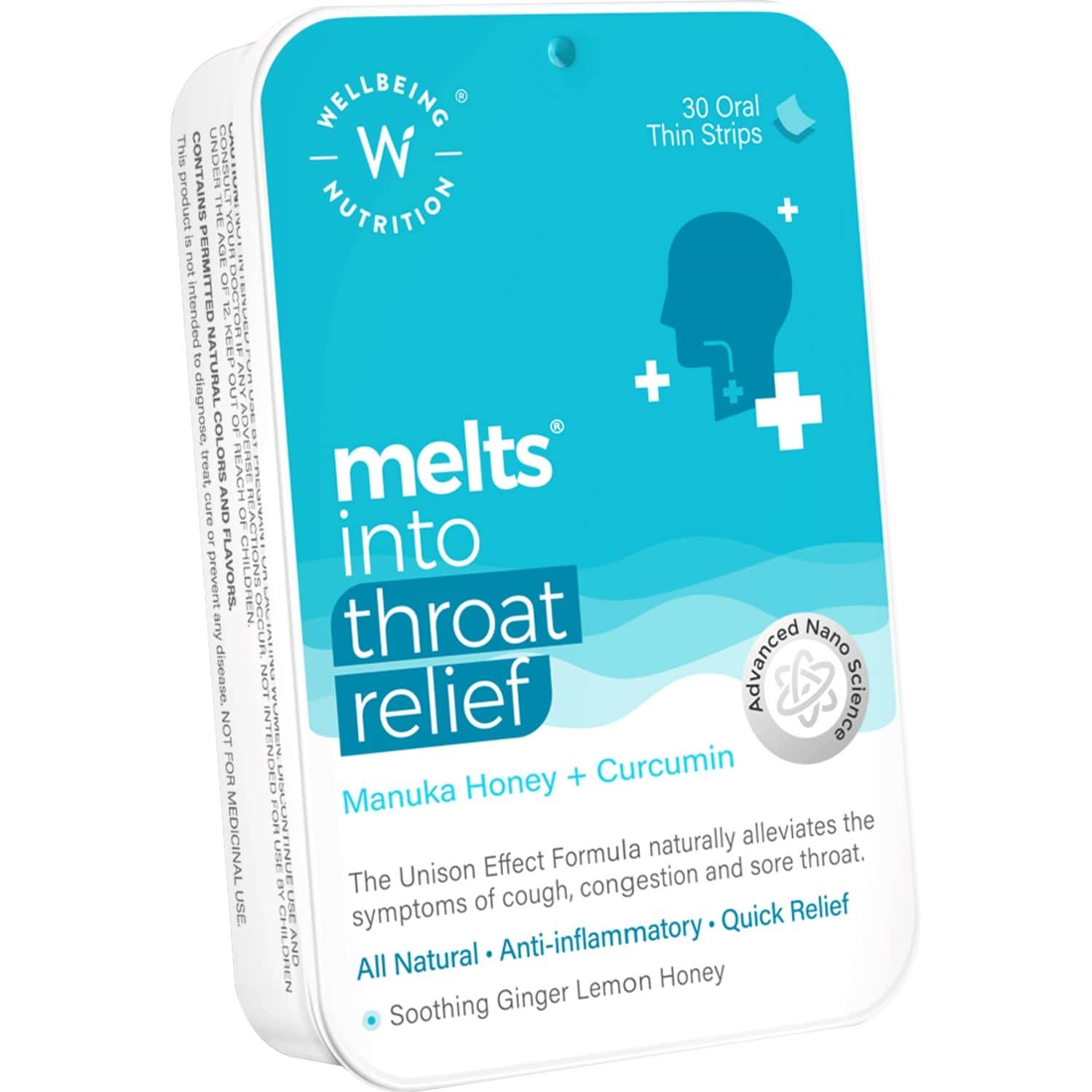 Wellbeing Nutrition Melts Instant Throat Relief - Manuka Honey+curcumin (30 Oral Strips)