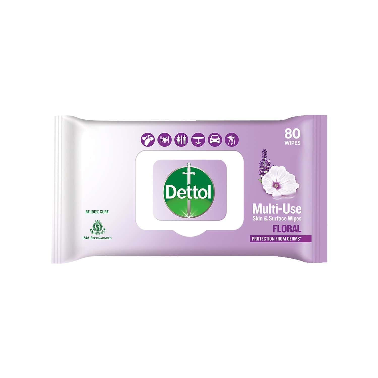 Dettol Disinfectant Skin & Surface Wipes, Floral, Safe On Skin, Ideal To Clean Multiple Surfaces, Resealable Lock - Lid - 80 Count