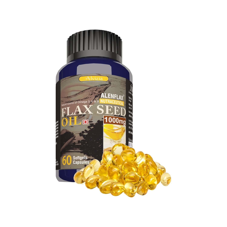 Alvizia Lenflax Premium Flaxseed Oil 1000mg - 60 Capsules ( Health Guard - Cold Pressed - Omega 3,6 & 9)