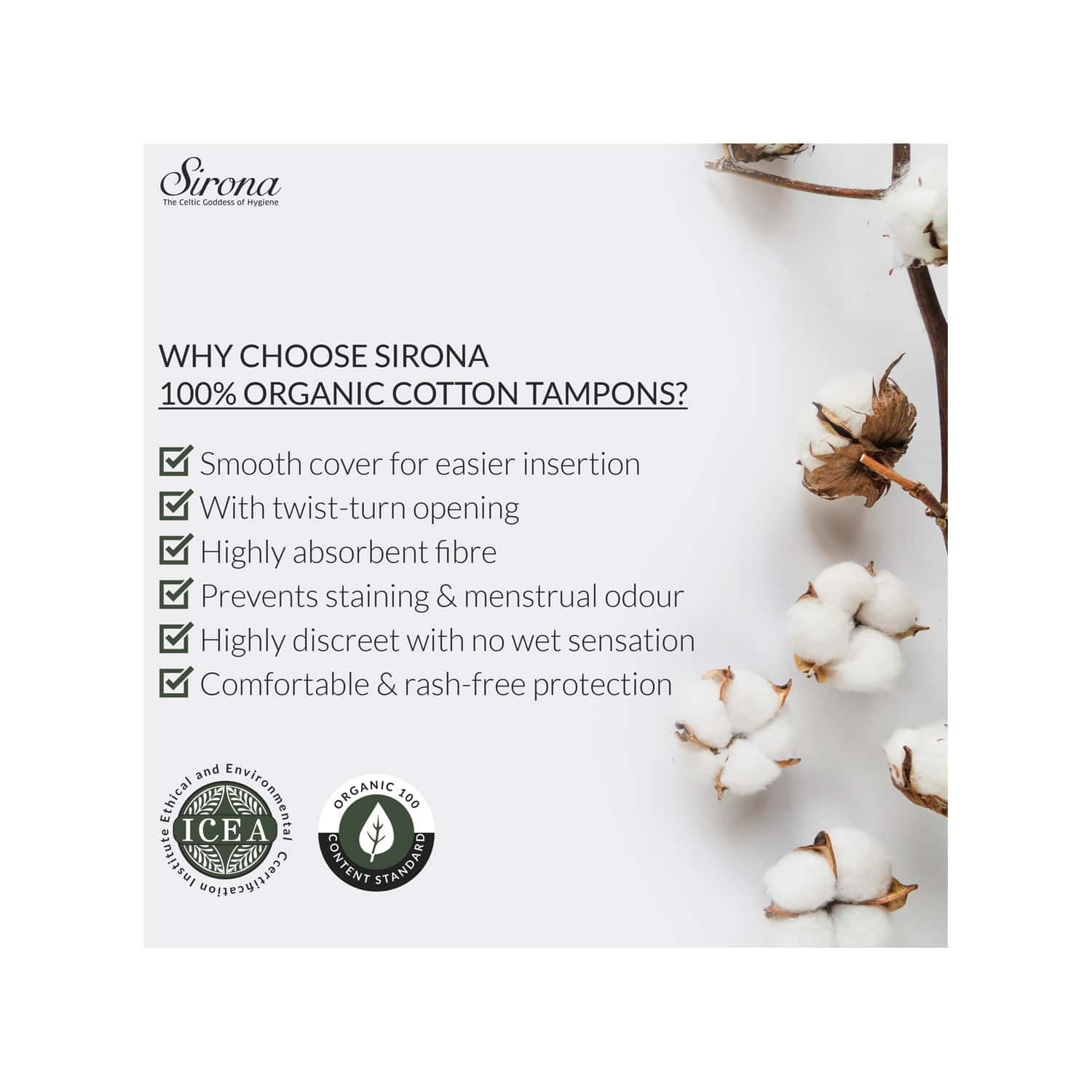 Sirona Heavy Flow Organic Tampons Made With 100% Organic Cotton, Non-applicator Tampons - 18 Pcs