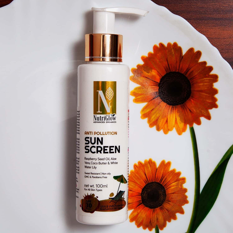 Nutriglow Advanced Organics Anti Pollution Sun Screen/all Skin Types/spf Pa Fairness/ Spf30+++ 100ml