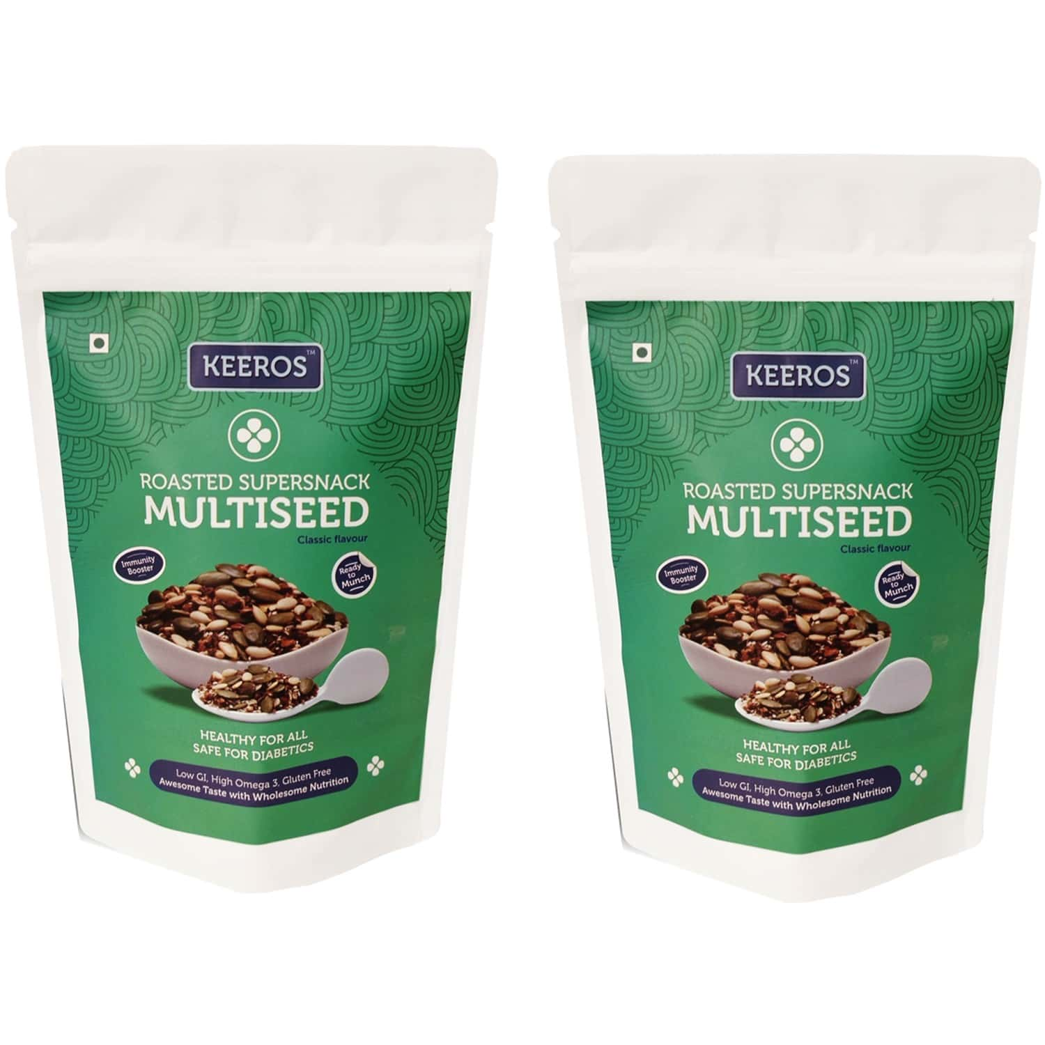Keeros Multi Seeds Mix For Eating :healthy & Tasty Trail Mix With Roasted Flax Seeds, Pumpkin Seeds, Watermelon Seeds, Sesame Seed & Dry Dates (sugar Free, Immunity Booster & Ready To Eat Snacks),2x400g