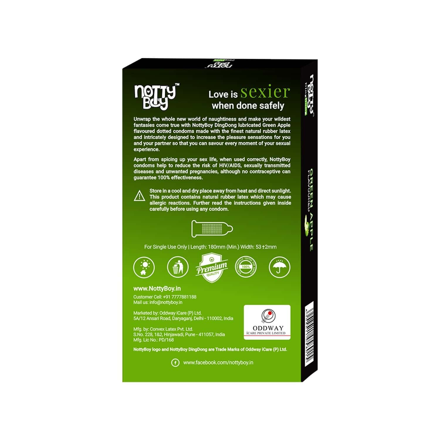 Nottyboy Green Apple Flavour Dingdong Condoms - 10s