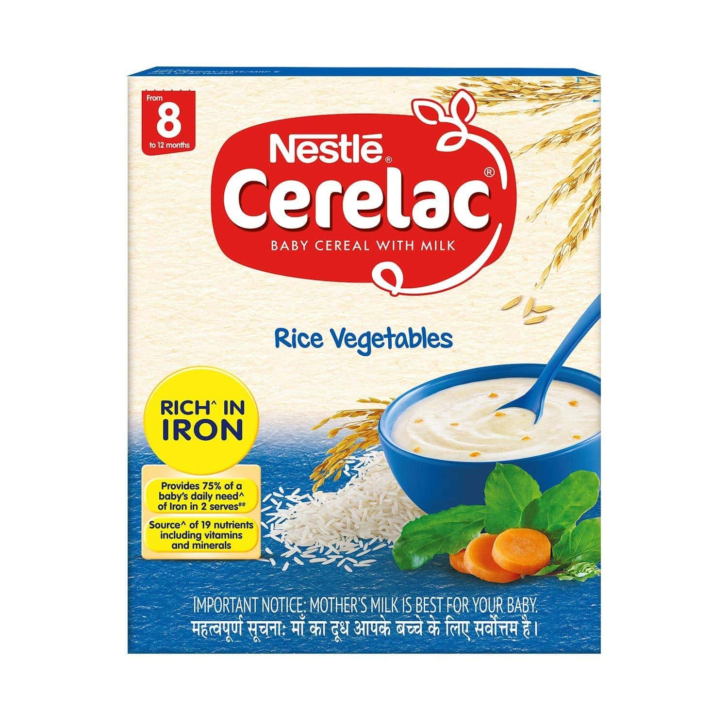 Nestle Cerelac Baby Food Milk Rice Vegetables (from 8 Months) Box Of 300 G