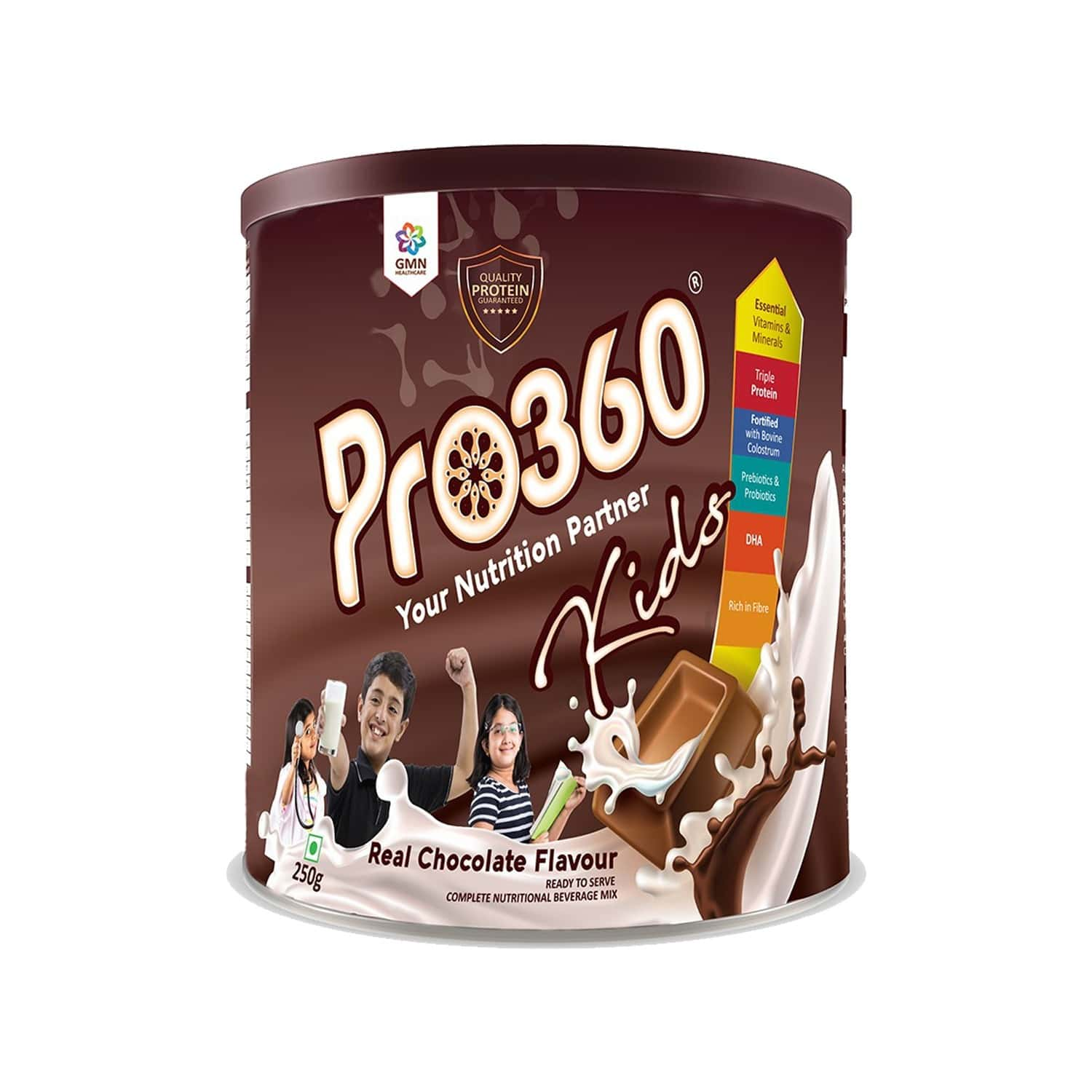 Pro360 Kids Nutritional Beverage Mix - Chocolate Flavour - 250gm - Tin
