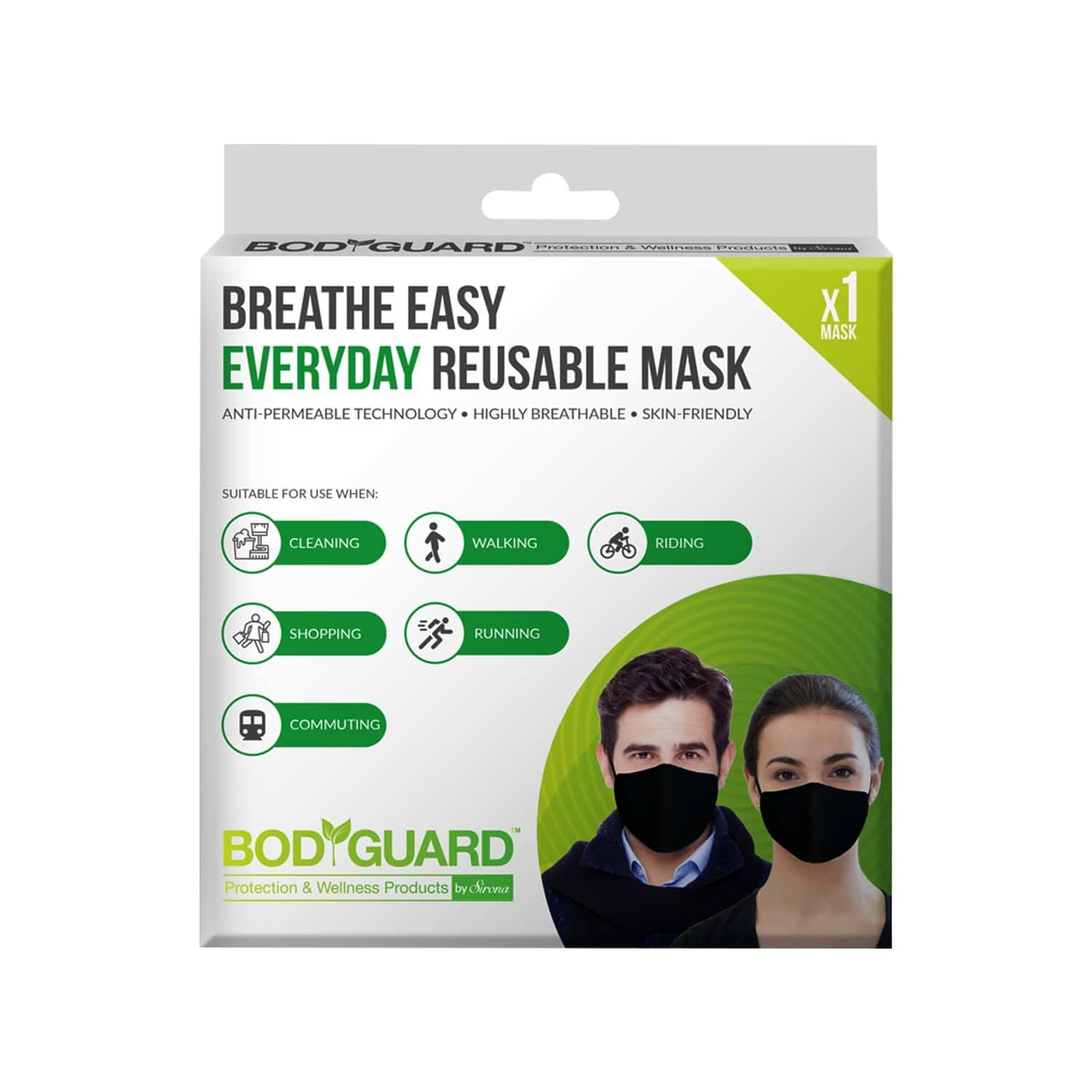 Bodyguard Breathe Easy Everyday Reusable Anti Pollution Mask - 1 Unit