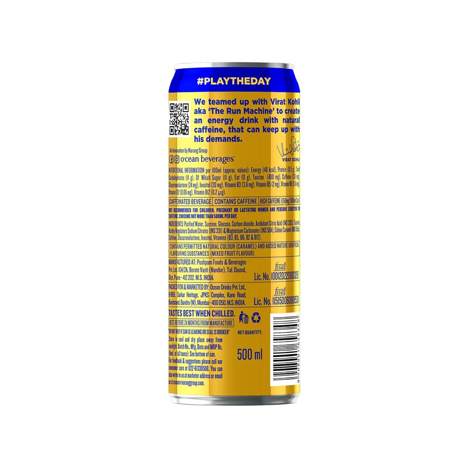 O'cean Natural Energy Drink With Natural Energy From Plant Based Caffeine & No Artificial Sweeteners, 500 Ml