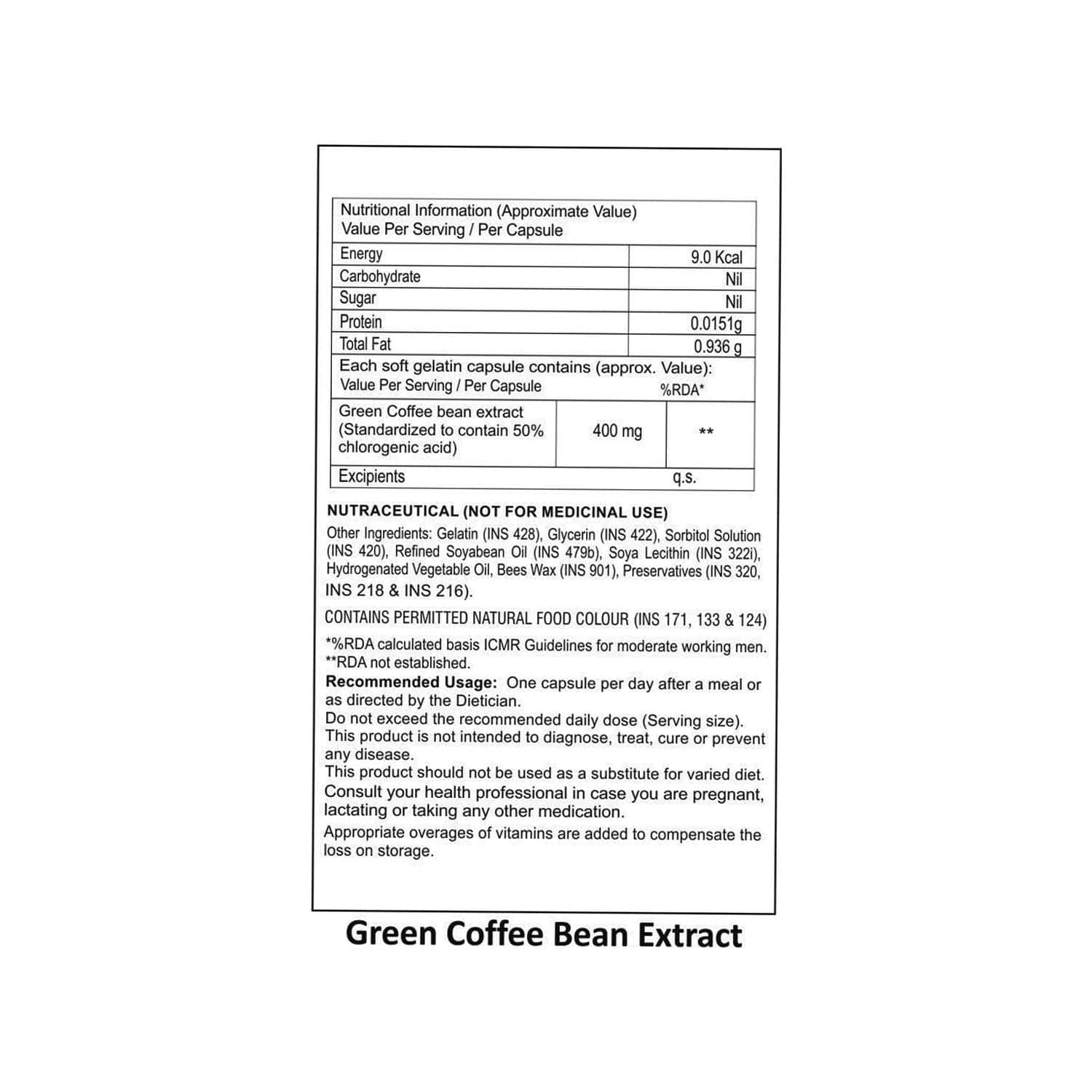 La Nature's Green Coffee Bean Extract - 60 Softgel Capsules