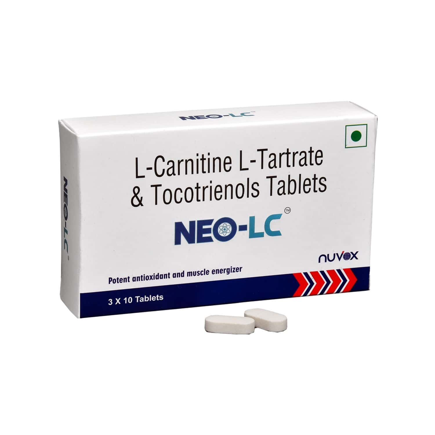 Nuvox Neo-lc L-carnitine, L-tartrate 500 Mg & Tocotrenols 60 Mg Muscle Cramp Tablet (3 X 10 Tablets)