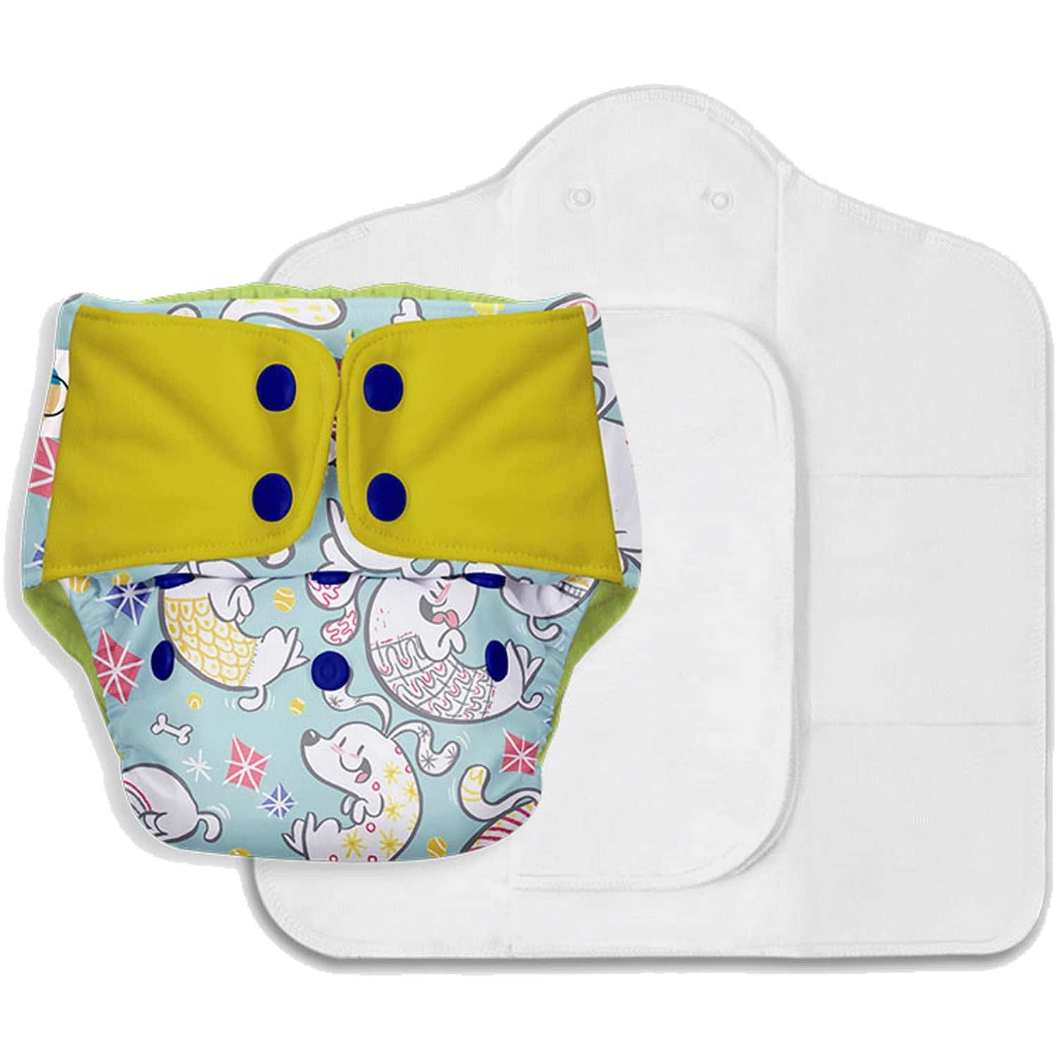 Superbottoms Freesize Uno - Reusable Cloth Diaper With Dry Feel Pads Set - Paw-sitively Happy
