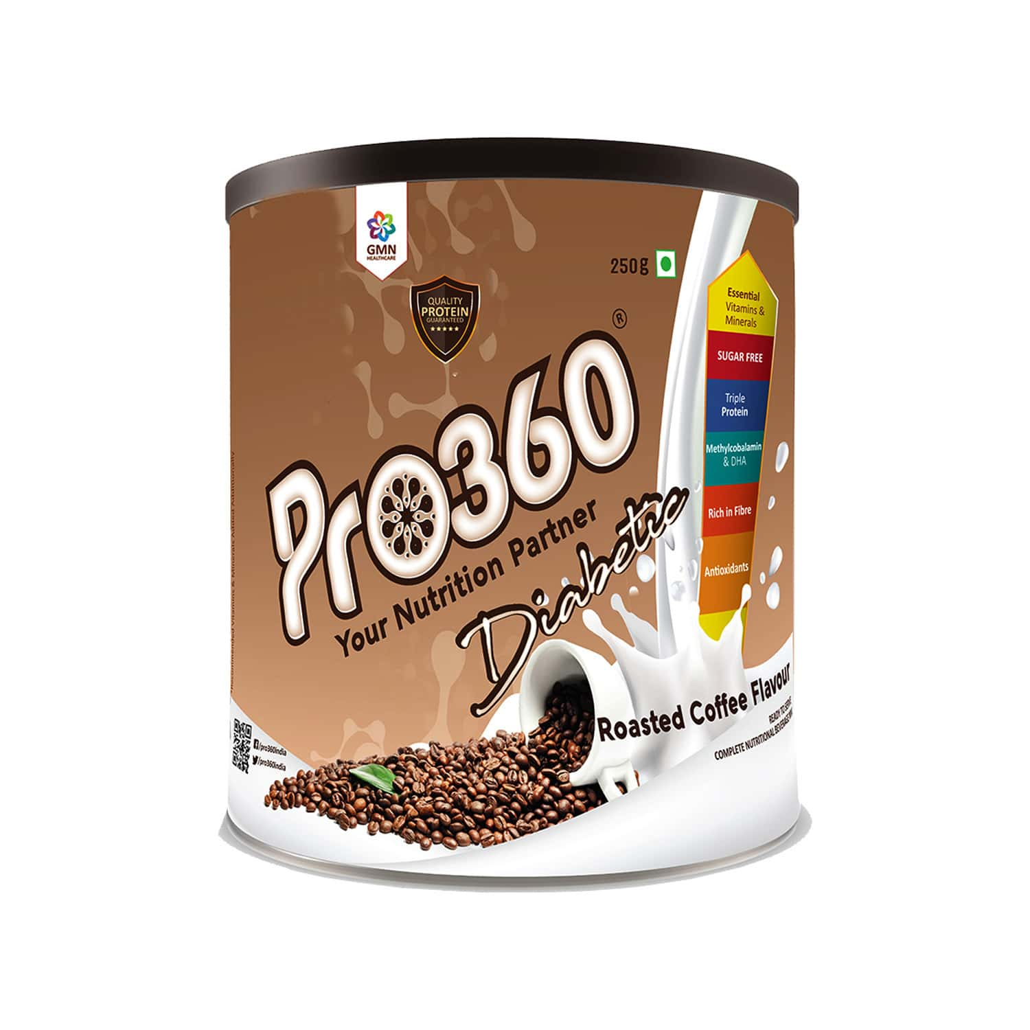 Pro360 Diabetic Roasted Coffee Nutritional Supplement Powder Tin Of 250 G