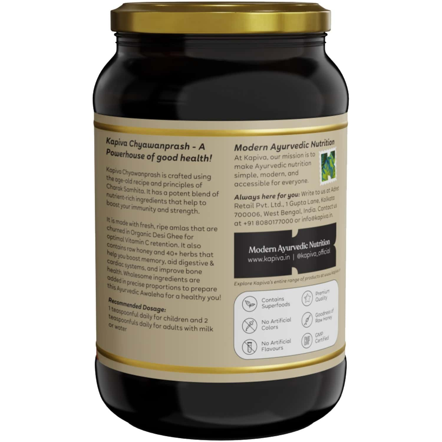 Kapiva Chyawanprash 500g- For Immunity And Daily Wellness With Organic Gheeraw Honey And 40+ Herbs   For Kids And Adults