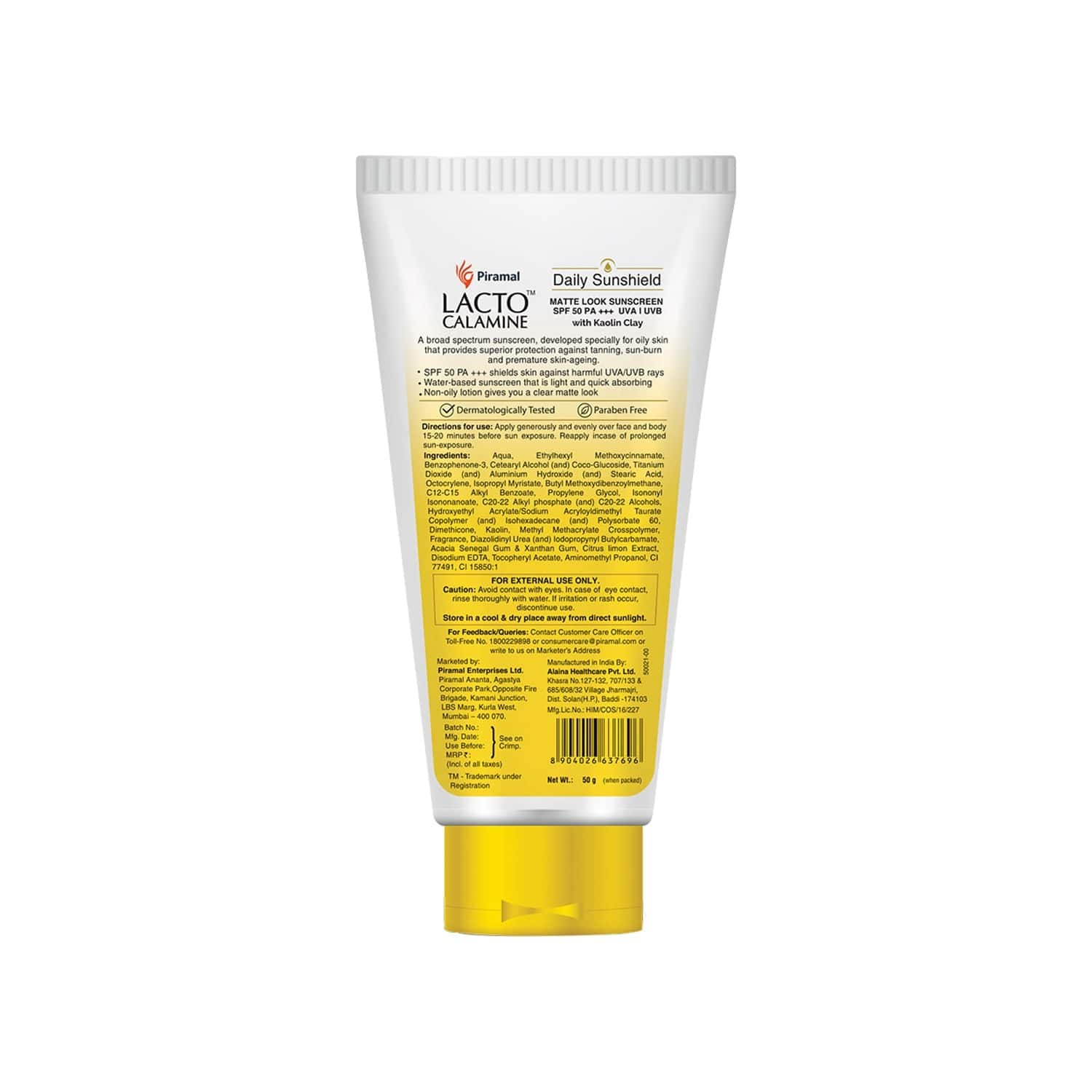 Lacto Calamine Daily Sunshield Matte Look Sunscreen Spf 50 Pa +++ ( For Oily Skin Light & Non Sticky) - 50g