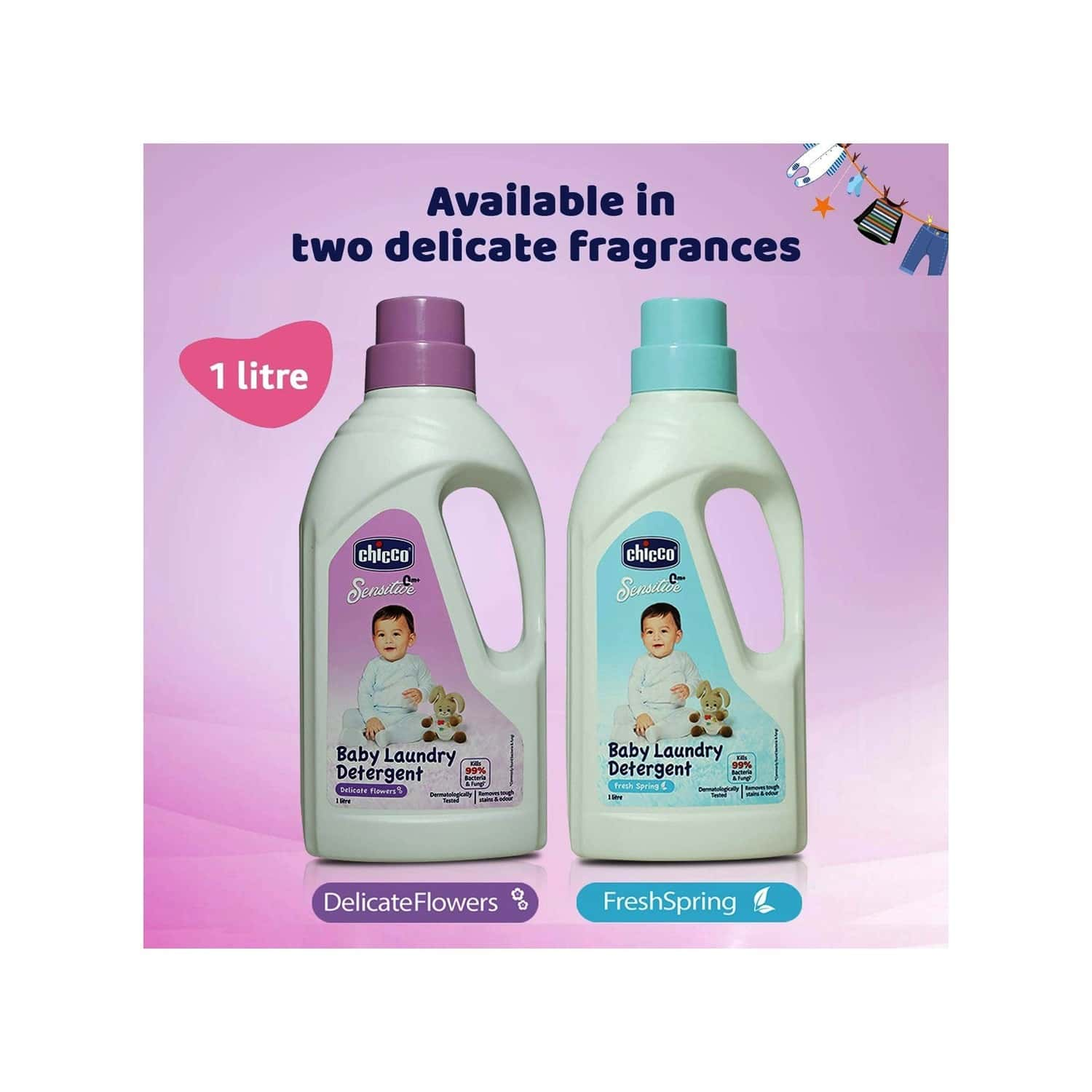 Chicco Baby Delicate Flowers Laundry Detergent Bottle Of 1000ml