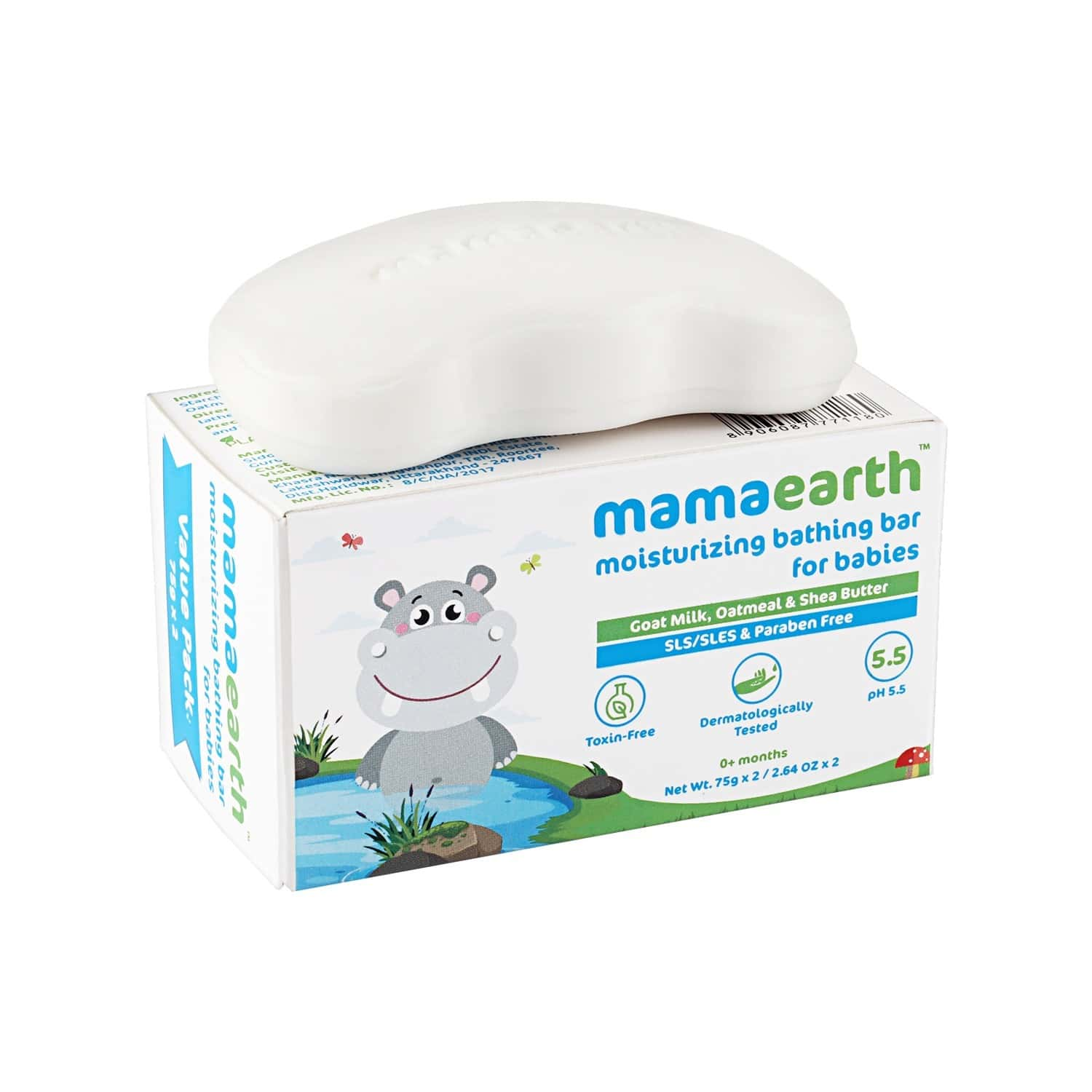 Mamaearth Moisturizing  Baby Soap (pack Of 2x75g) Box Of 150 G