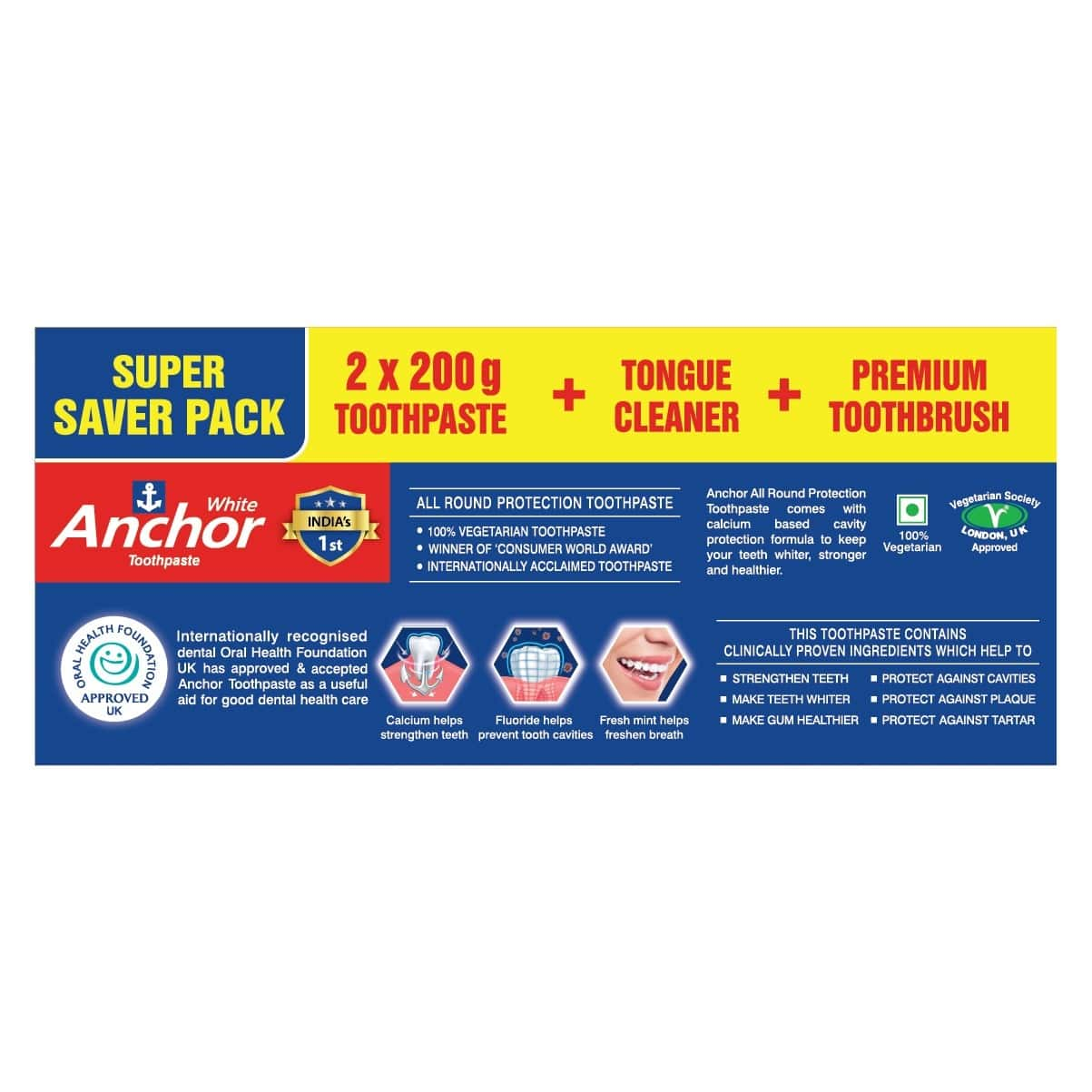 Anchor White  Super Saver Pack  Box Of 400 G (200gm X 2)