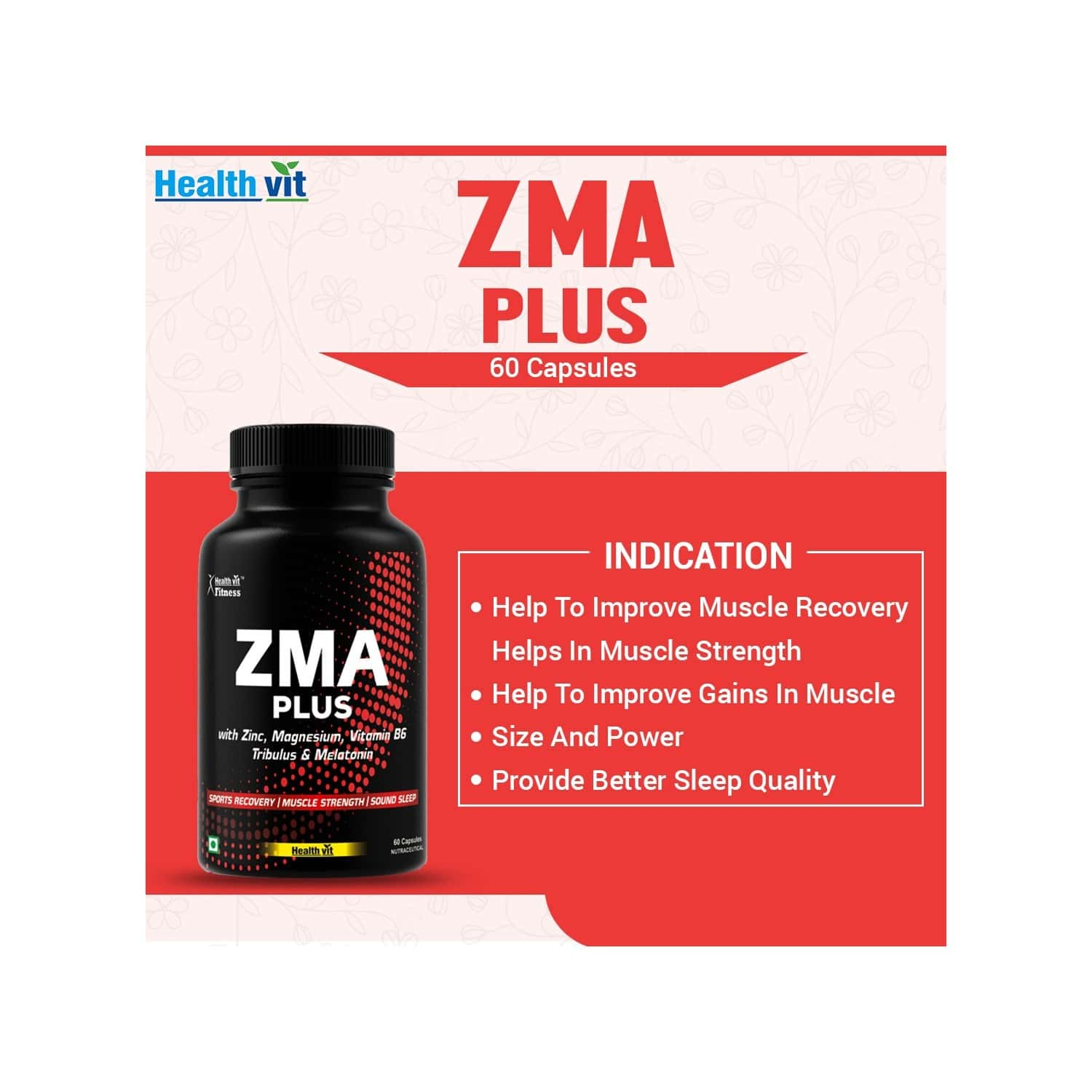 Healthvit Fitness Triple Strength Zma Plus, Sports Recovery & Sleep Support Supplement With Zinc, Magnesium, Vitamin B6, Tribulus & Melatonin 60 Capsules