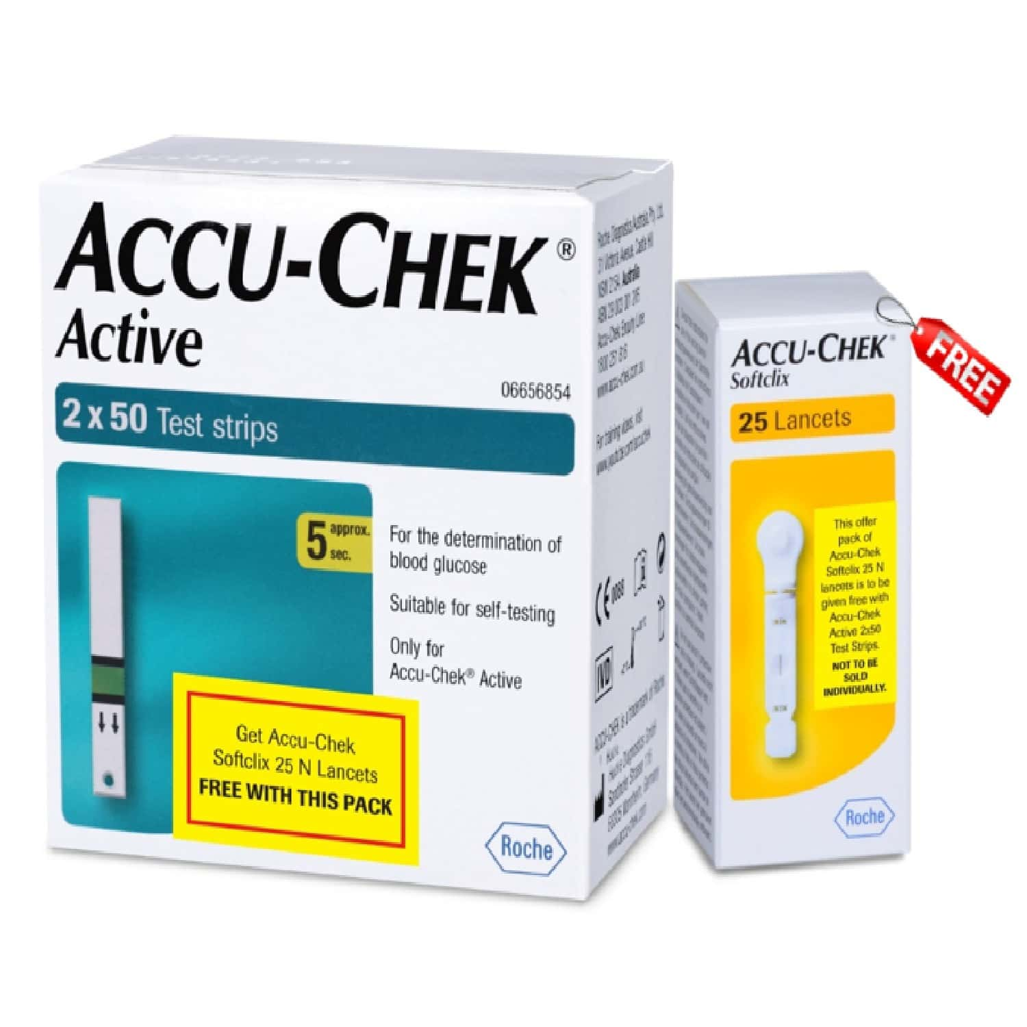 Accu-chek Active 100 Strips (50x2) With Free 25 Lancets