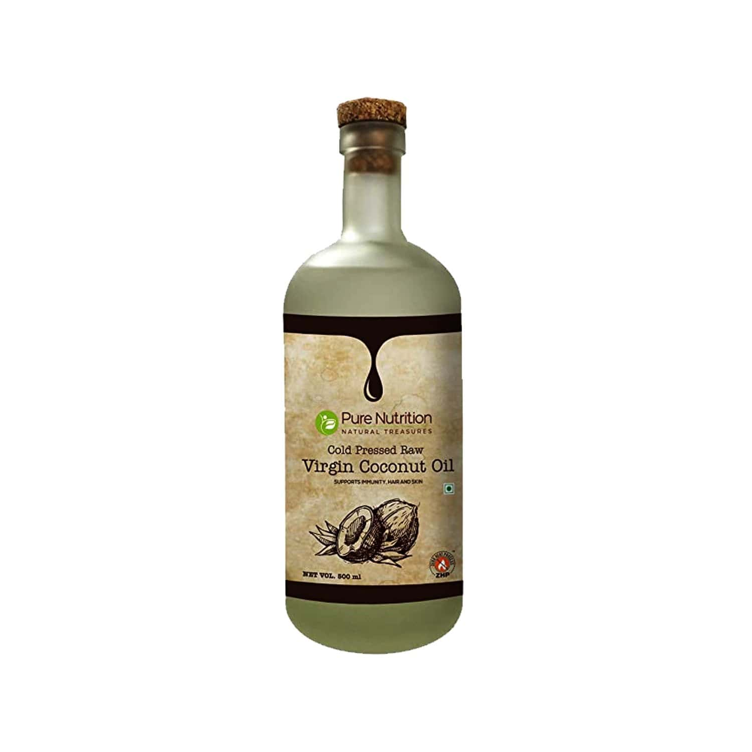 Pure Nutrition Raw Cold Pressed Virgin Coconut Oil , Zero Heat Process, Supports Immunity, Hair & Skin, 100% Edible - 500 Ml Glass Bottle