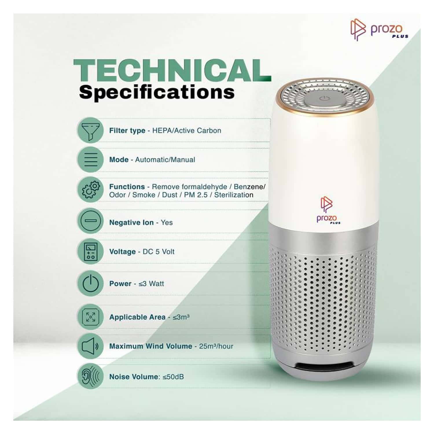 Prozo Plus Ce Certified, Hepa Filter, Portable Air Purifier For Car, Home And Office Working Station