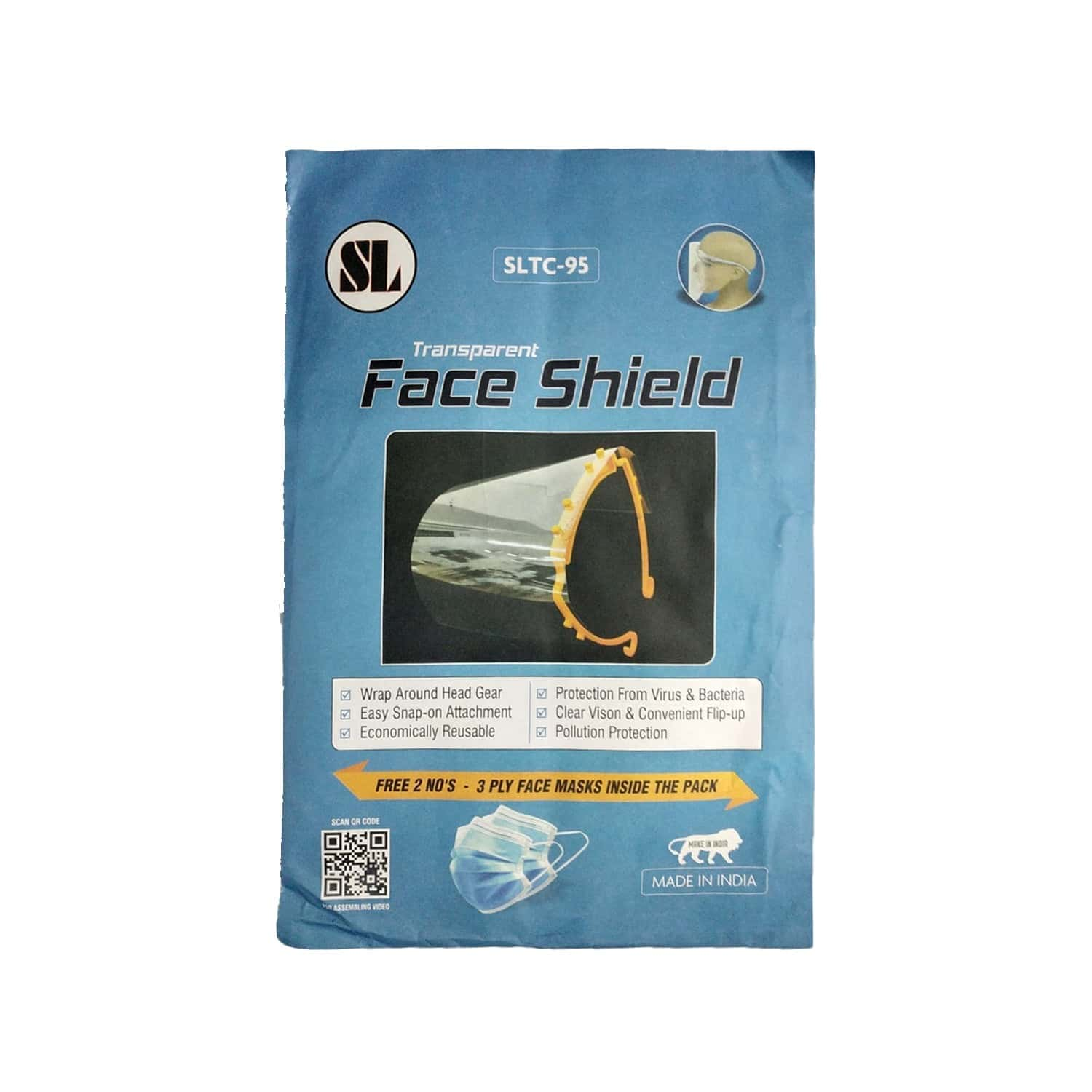 Sltc-95  Face Shield  (free 2 Units Of 3 Ply Face Mask)