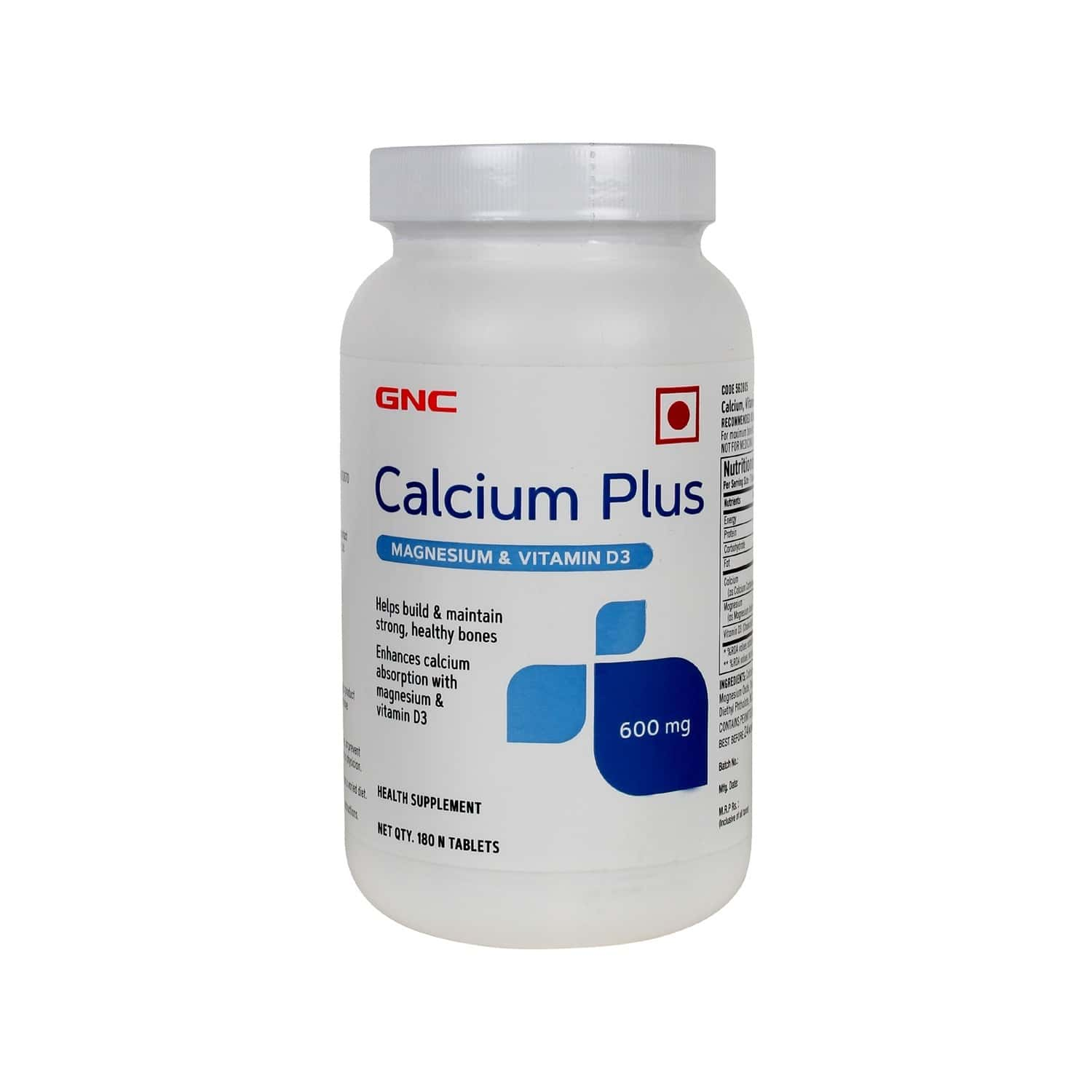Gnc Calcium Plus 600mg With Magnesium And Vitamin D3 - 180 Tablets