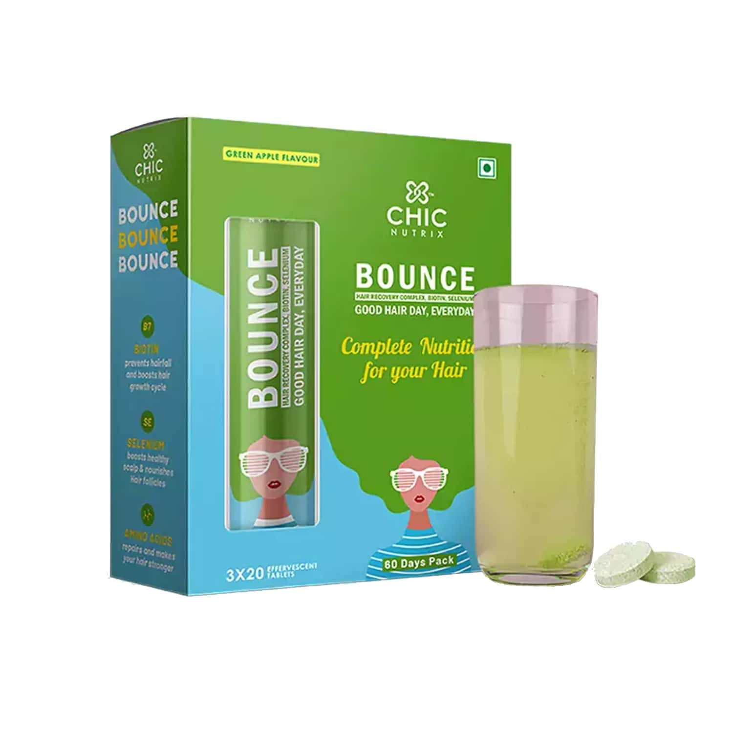 Chicnutrix Bounce - Hair Recovery Complex, Biotin, Selenium For A Good Hair Day, Everyday - 60 Effervescent Tablets - Green Apple Flavour