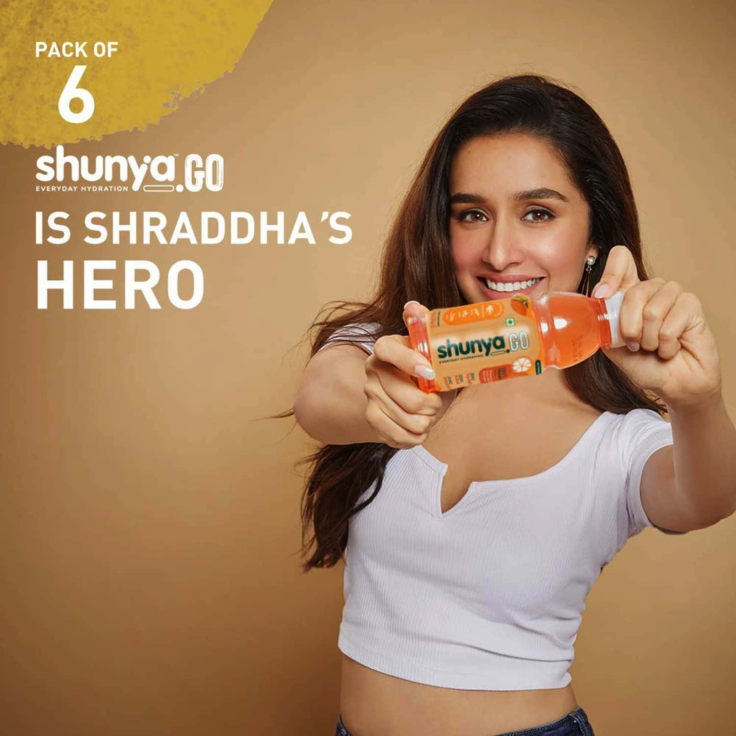 Shunya Go Zappy Orange | Active Hydration Drink With 0 Calories, 0 Sugar, 0 Preservatives Pack Of 6 (300ml X 6)