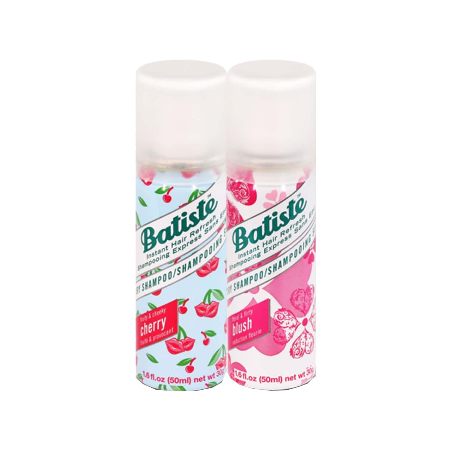 Batiste Value Kit Fruity & Cheeky Cherry, Floral & Flirty Blush Dry Shampoo - 100ml (pack Of 2 X 50ml)