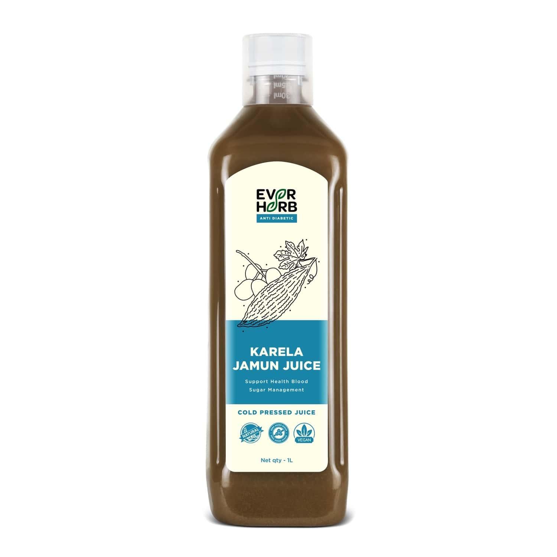 Everherb Karela Jamun Juice - Helps Maintains Healthy Sugar Levels -helps In Weight Management- 1000ml Bottle
