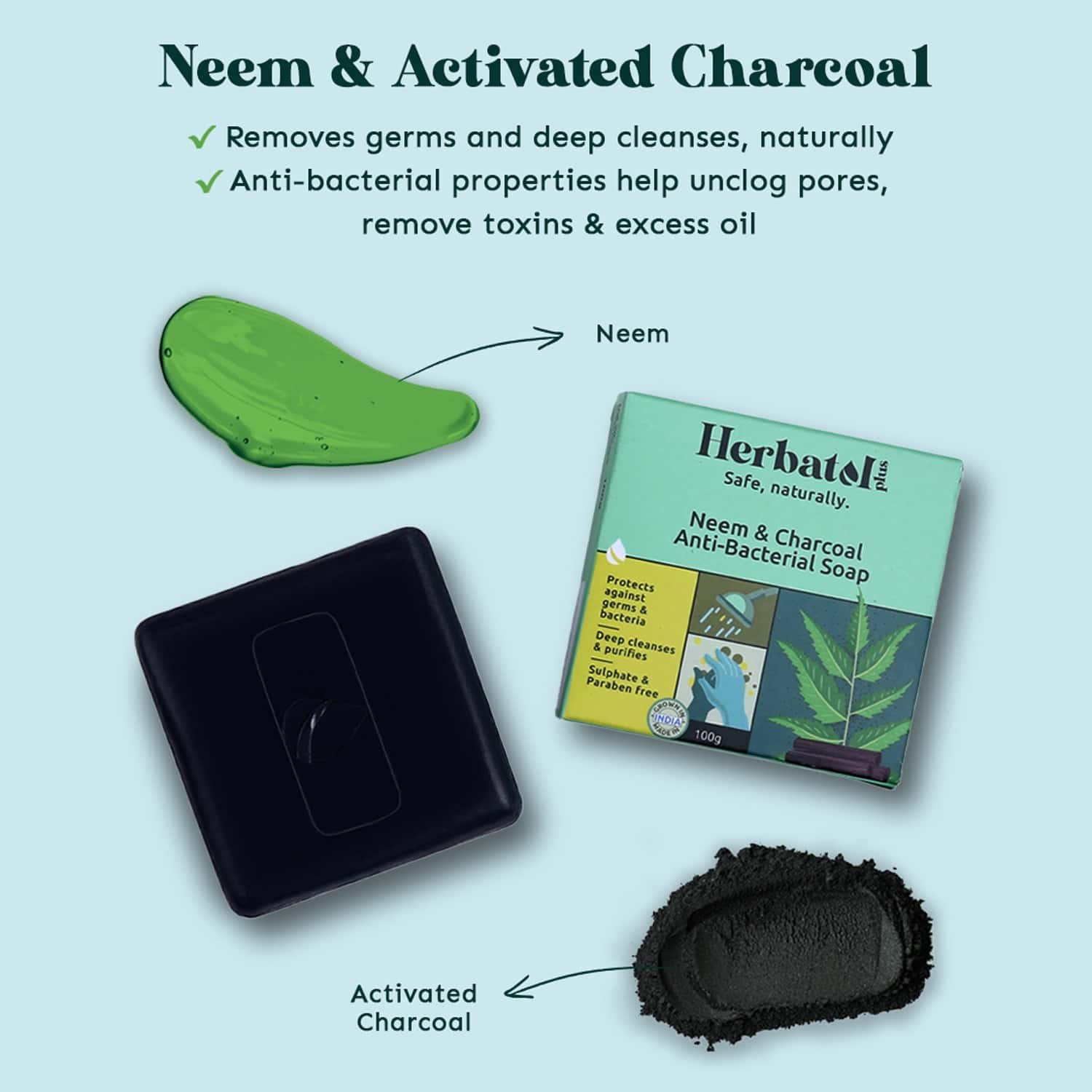 Herbatol Plus Anti-bacterial Soap (100gm) For 99.99% Germ Protection With Neem & Charcoal | Made In India