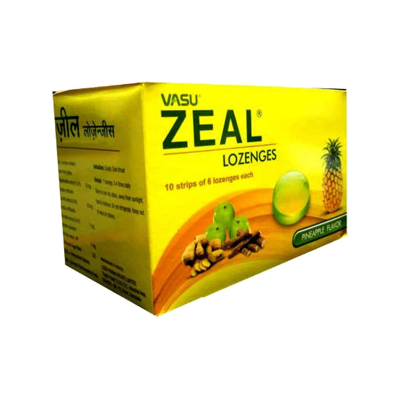 Vasu Zeal Lozenges - Pineapple Flavor ( Pack Of 6 X 10 Lozenges) - 60's