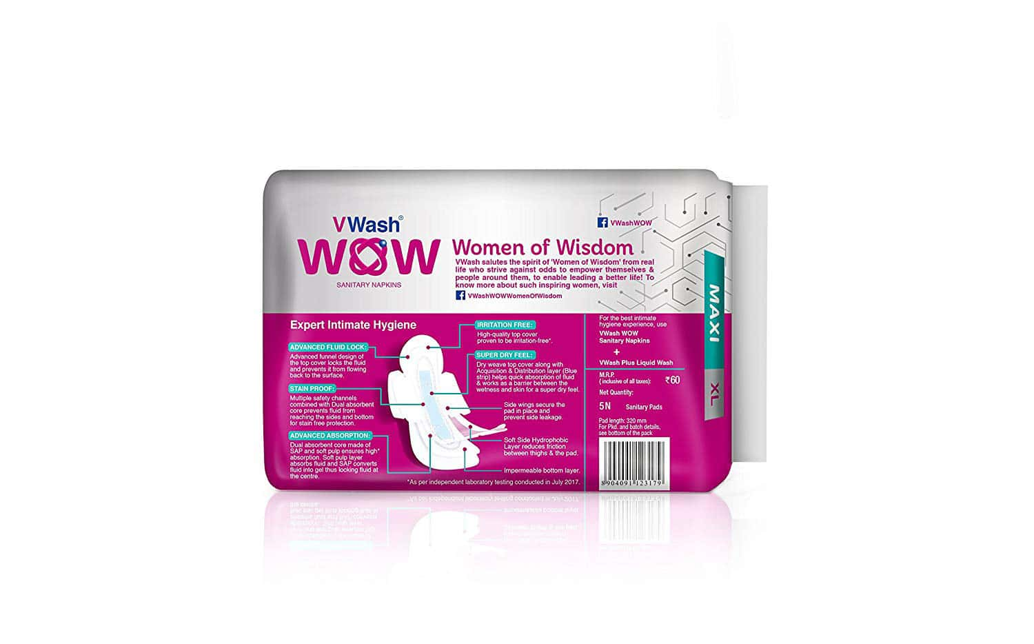 Vwash Wow Maxi Size Xl Sanitary Pads Pack Of 30 (packs Of 6x5)