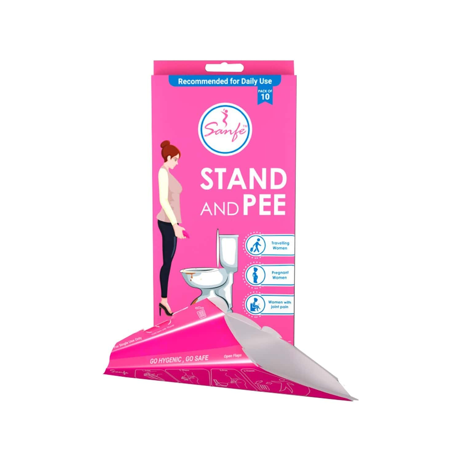 Sanfe Stand And Pee Disposable Female Urination Funnel Packet Of 50