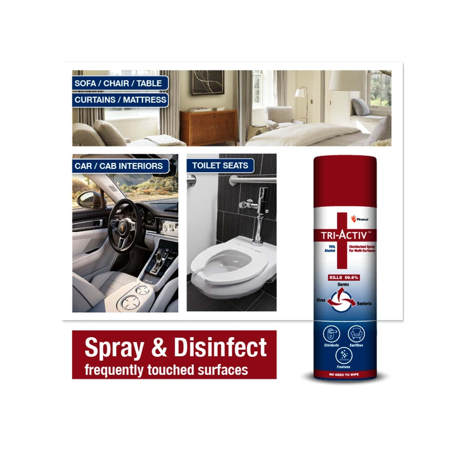 Tri-activ Disinfectant Spray For Multi-surfaces - 70% Alcohol Based - 230ml