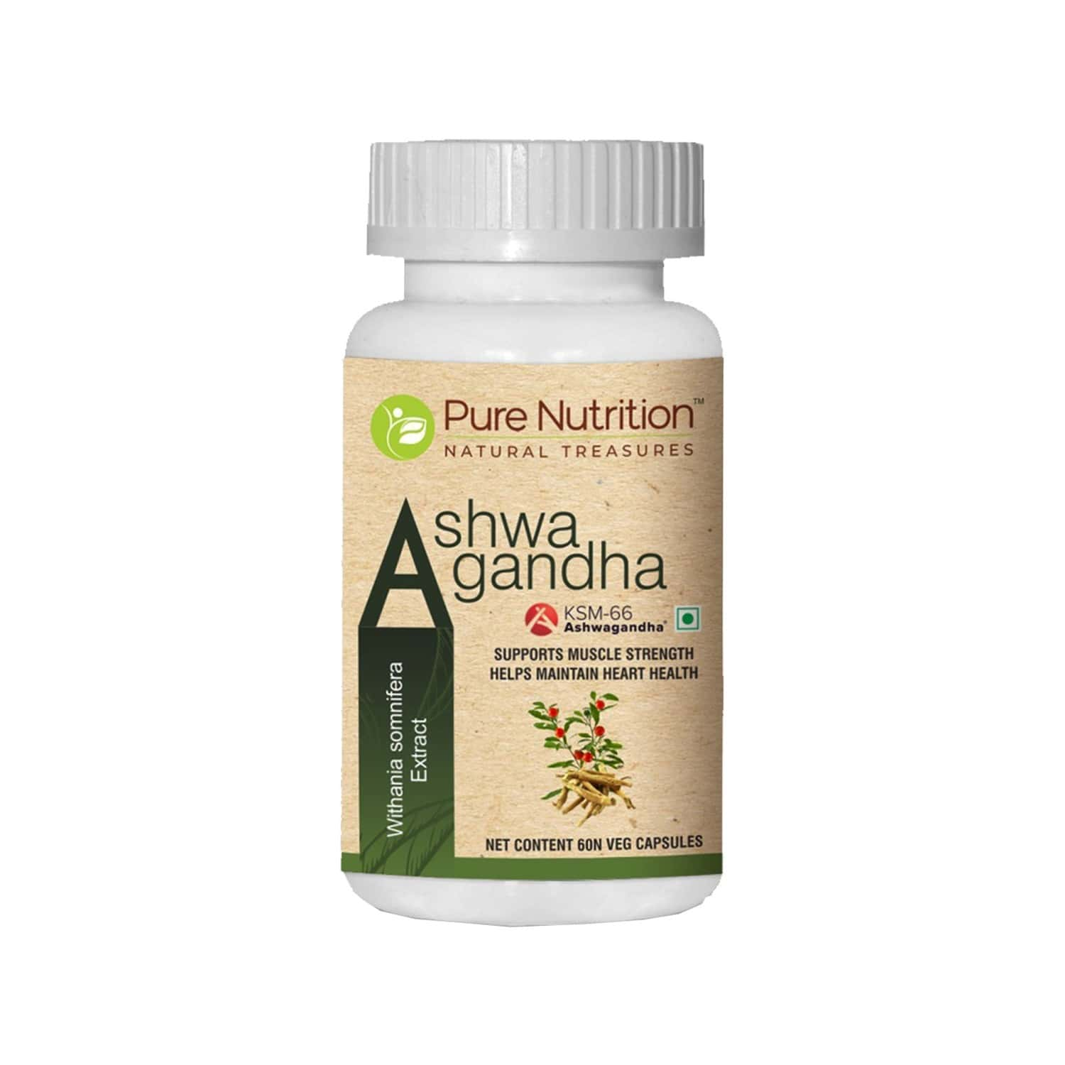 Pure Nutrition Ashwagandha Ksm-66 Supports Muscle Strength And Heart Health- 60 Veg Capsules