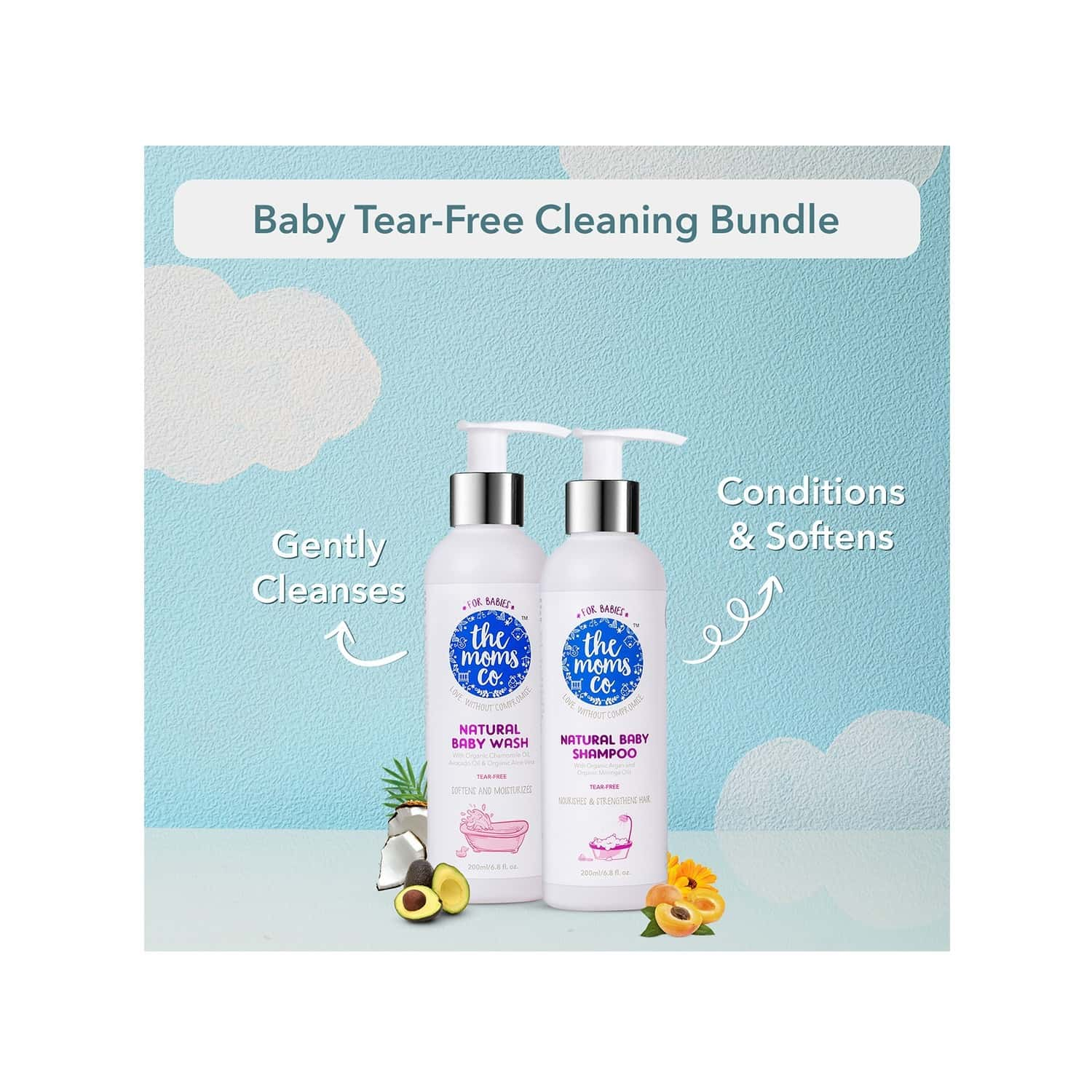 The Moms Co. Natural Tear-free Cleaning Bundle Baby Bath Kit Of 400 Ml