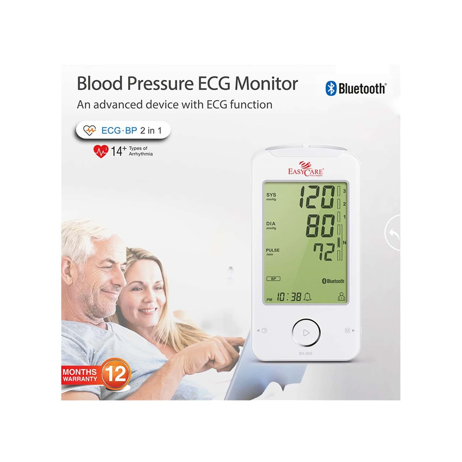 Easycare Advanced (2 In 1 - 1st Time In India) Blood Pressure With Ecg Function Monitor (14+ Types Of Arrhythmia) Who Classification Indicator