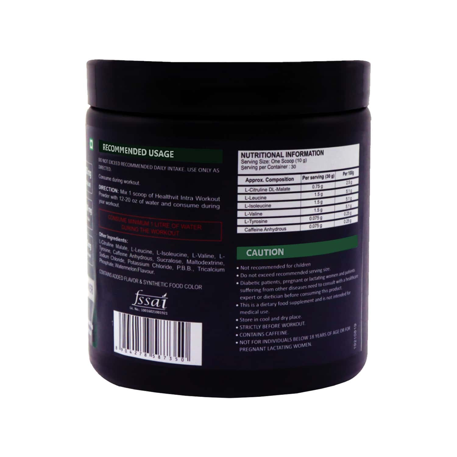 Healthvit Fitness Intra Workout Powder Advanced Formula - Watermelon Flavour - 300gm