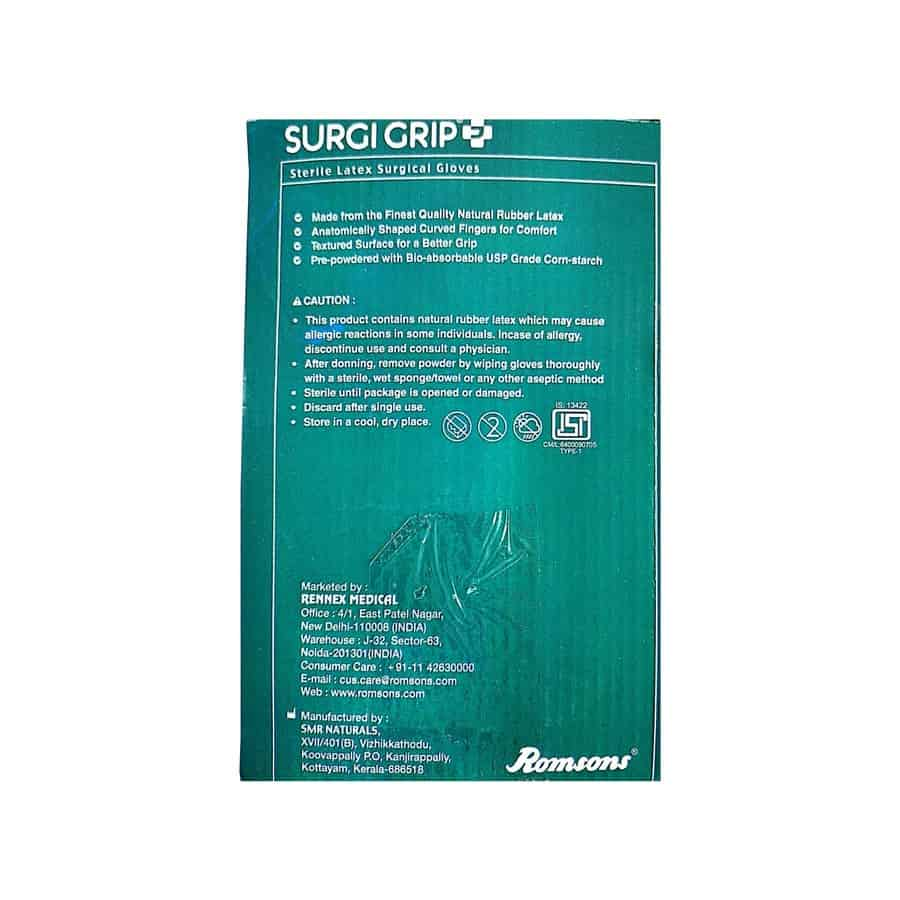 Surgi Grip Sterile Latex Surgical Hand Gloves - 50 Pairs (size 7)