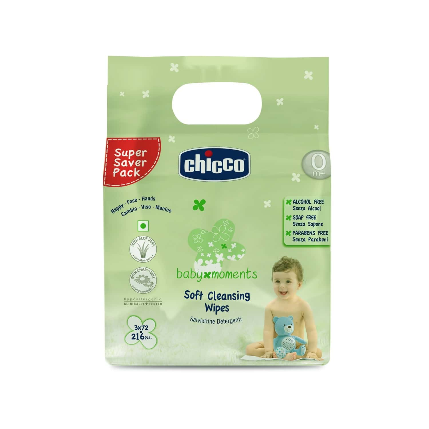 Chicco Baby Soft Cleansing Wipes Tripack Packet Of 216