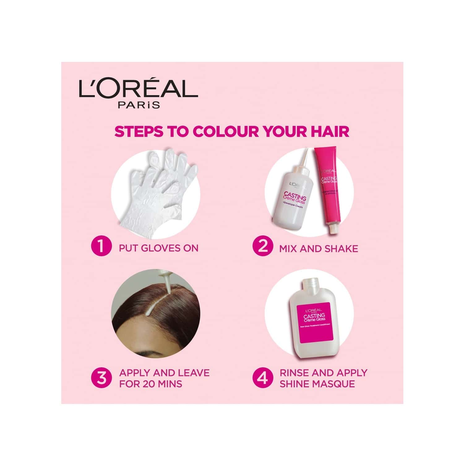 L'oreal Paris Casting Creme Gloss 400 Dark Brown (87.5g + 72ml) Hair Color Box Of 159.5 G