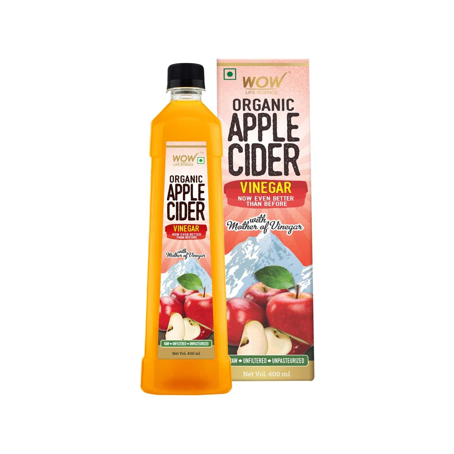 Wow Life Science Organic Apple Cider Vinegar (400 Ml)