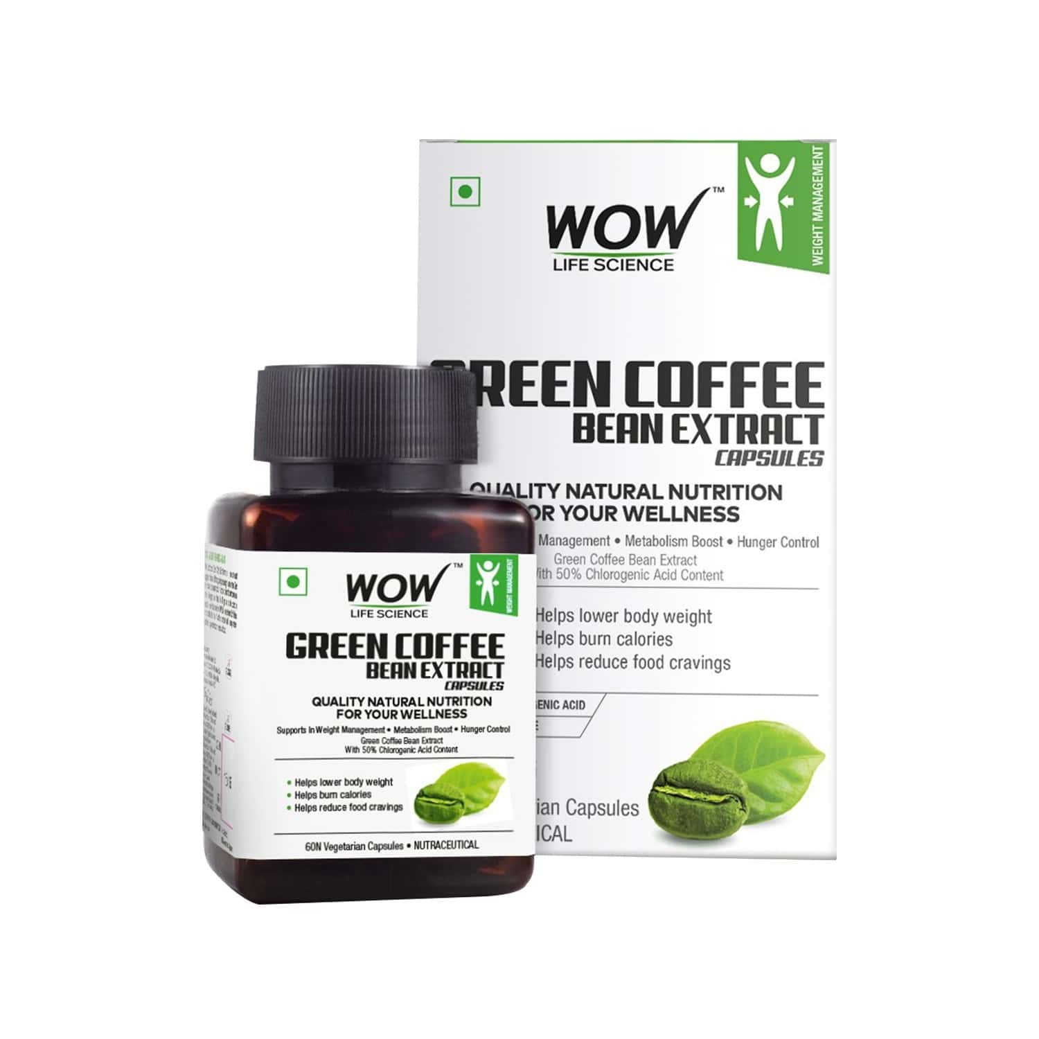 Wow Life Science Green Coffee Bean Extract Capsules - 60 Capsules