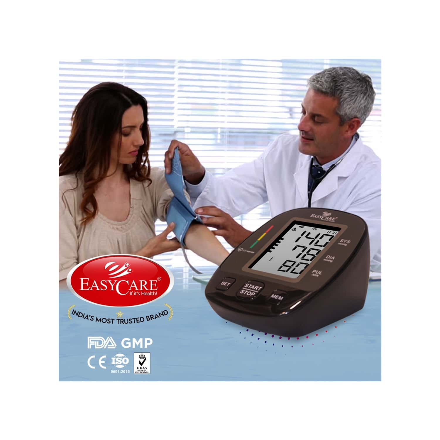 Easycare Big Display Digital Blood Pressure Monitor With Fully Automatic Arm Style