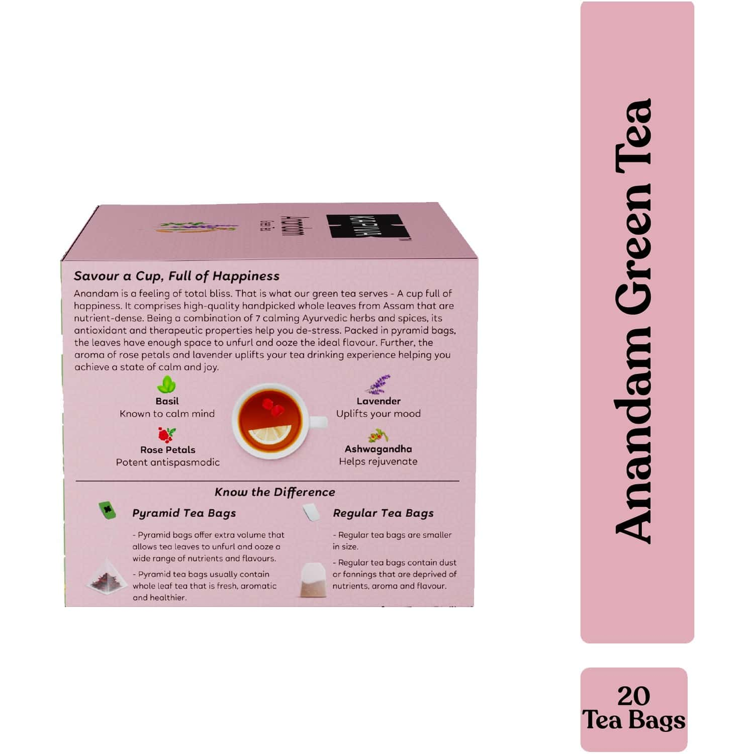 Kapiva Anandam Green Tea   Helps De-stress & Relax   Enriched With Lavender, Ashwagandha And Others   20 Tea Bags