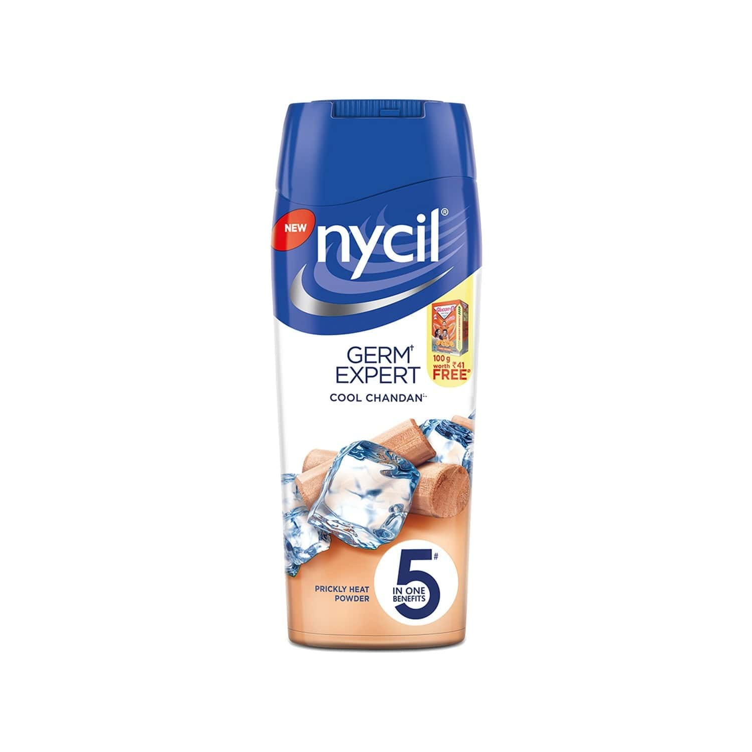 Nycil Cool Chandan With Sandalwood Prickly Heat Powder  Bottle Of 150 G (free Glucon-d Orange 100gm Worth Rs 41)