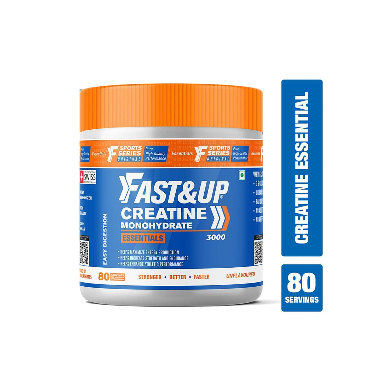 Fast & Up Creatine Monohydrate - Creatine Essentials, Ultra Micronized Faster Absorption, Strength & Endurance, Better Athletic Performance Zero Sugar Unflavoured 80 Servings - 250g